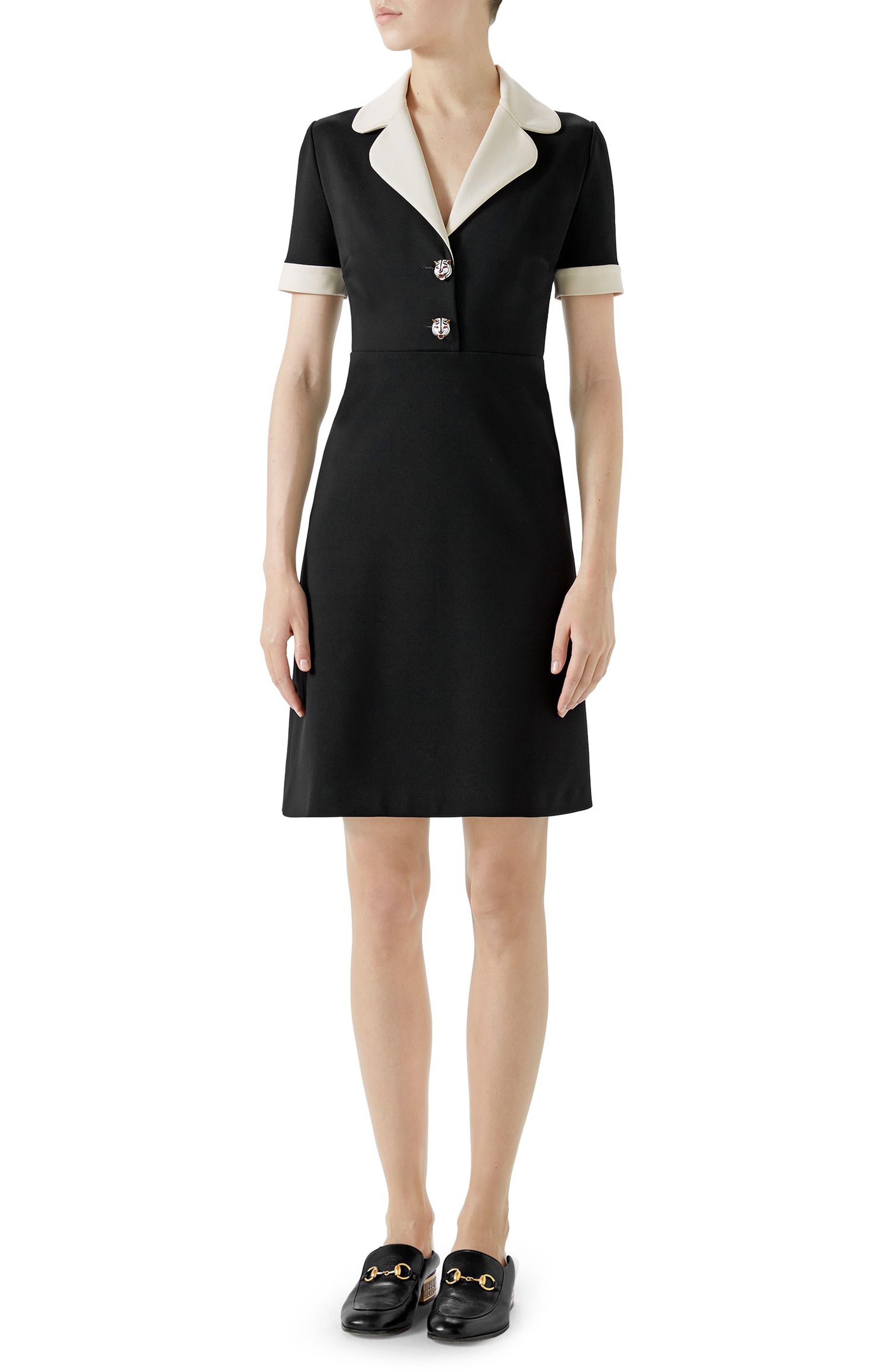 Tiger Button Contrast Trim Jersey Dress,                             Main thumbnail 1, color,                             BLACK/ ALMOND FLOWER