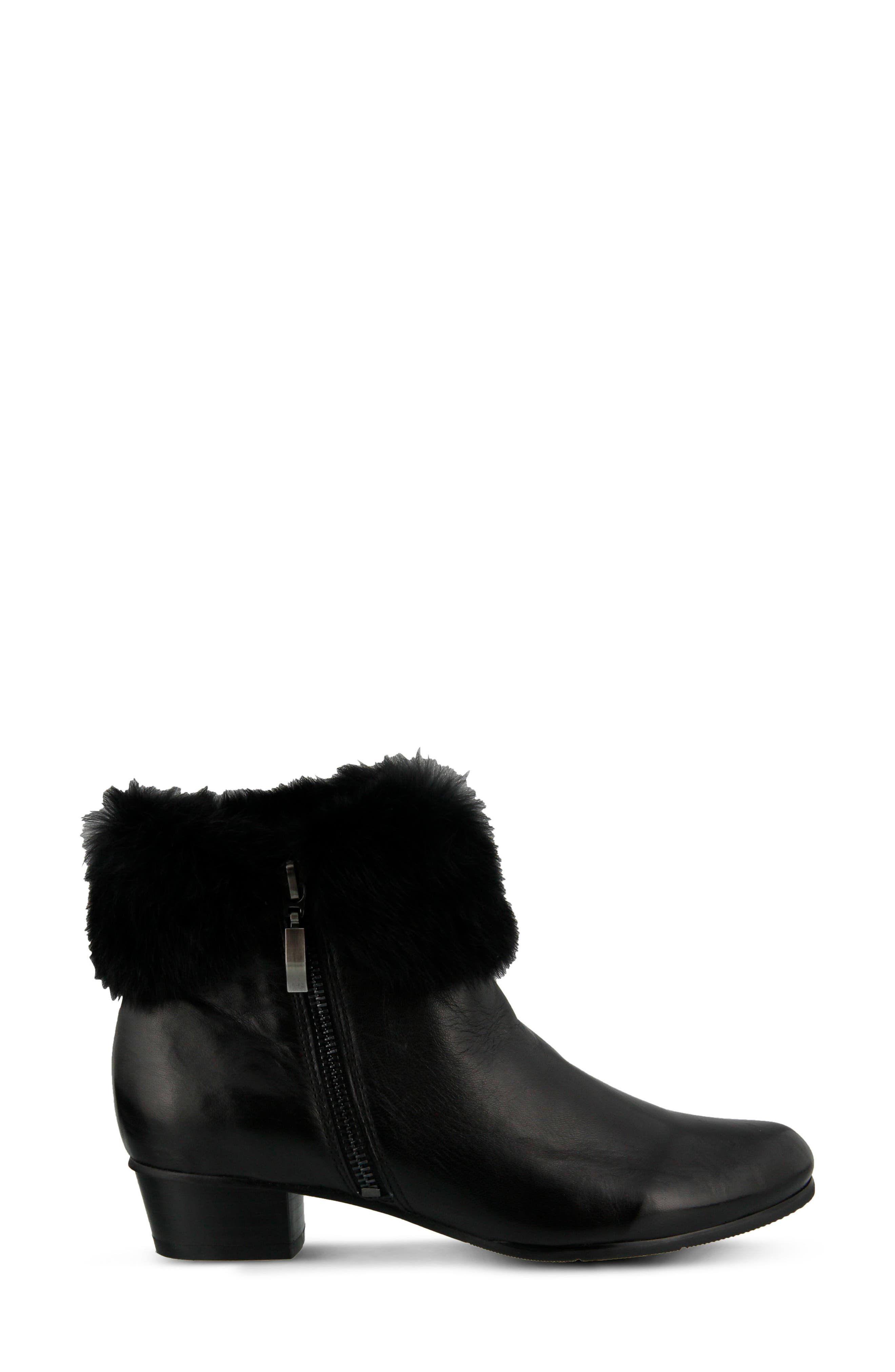 Burnside Faux Fur Trim Bootie,                             Alternate thumbnail 3, color,                             BLACK LEATHER