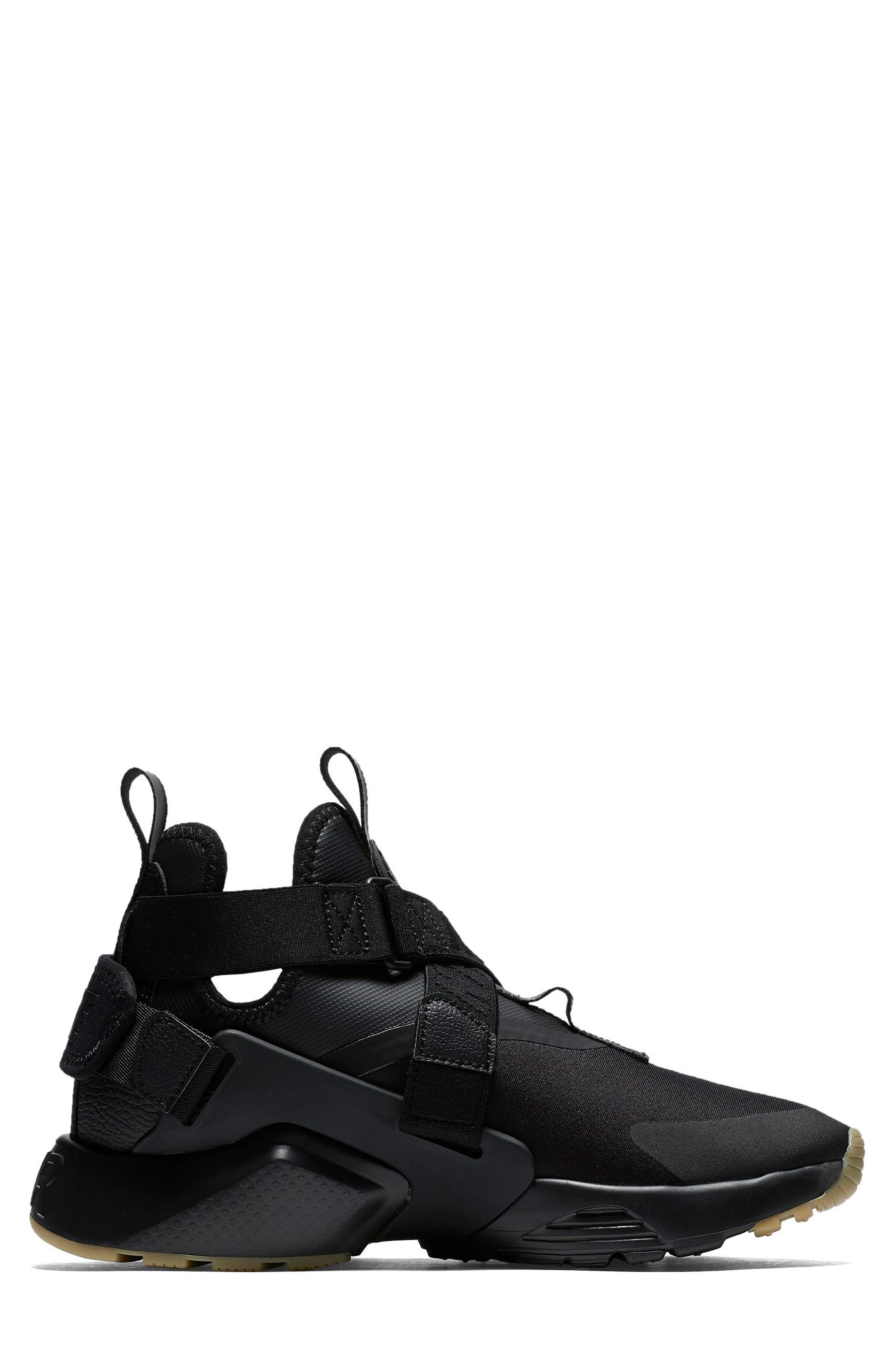 Air Huarache City Sneaker,                             Alternate thumbnail 3, color,                             BLACK/ BLACK/ DARK GREY