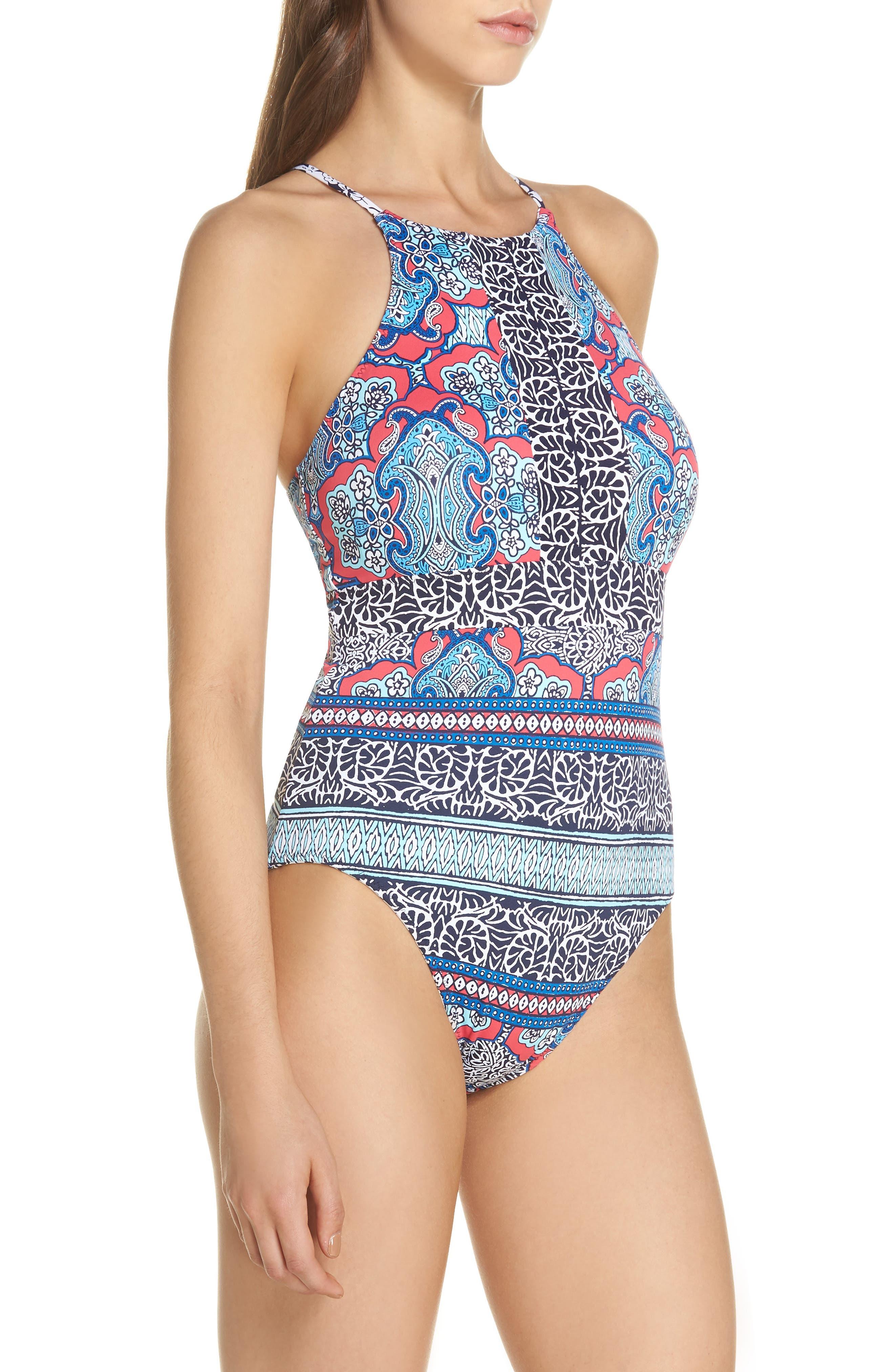 Riviera Tiles Reversible One-Piece Swimsuit,                             Alternate thumbnail 4, color,                             CERISE