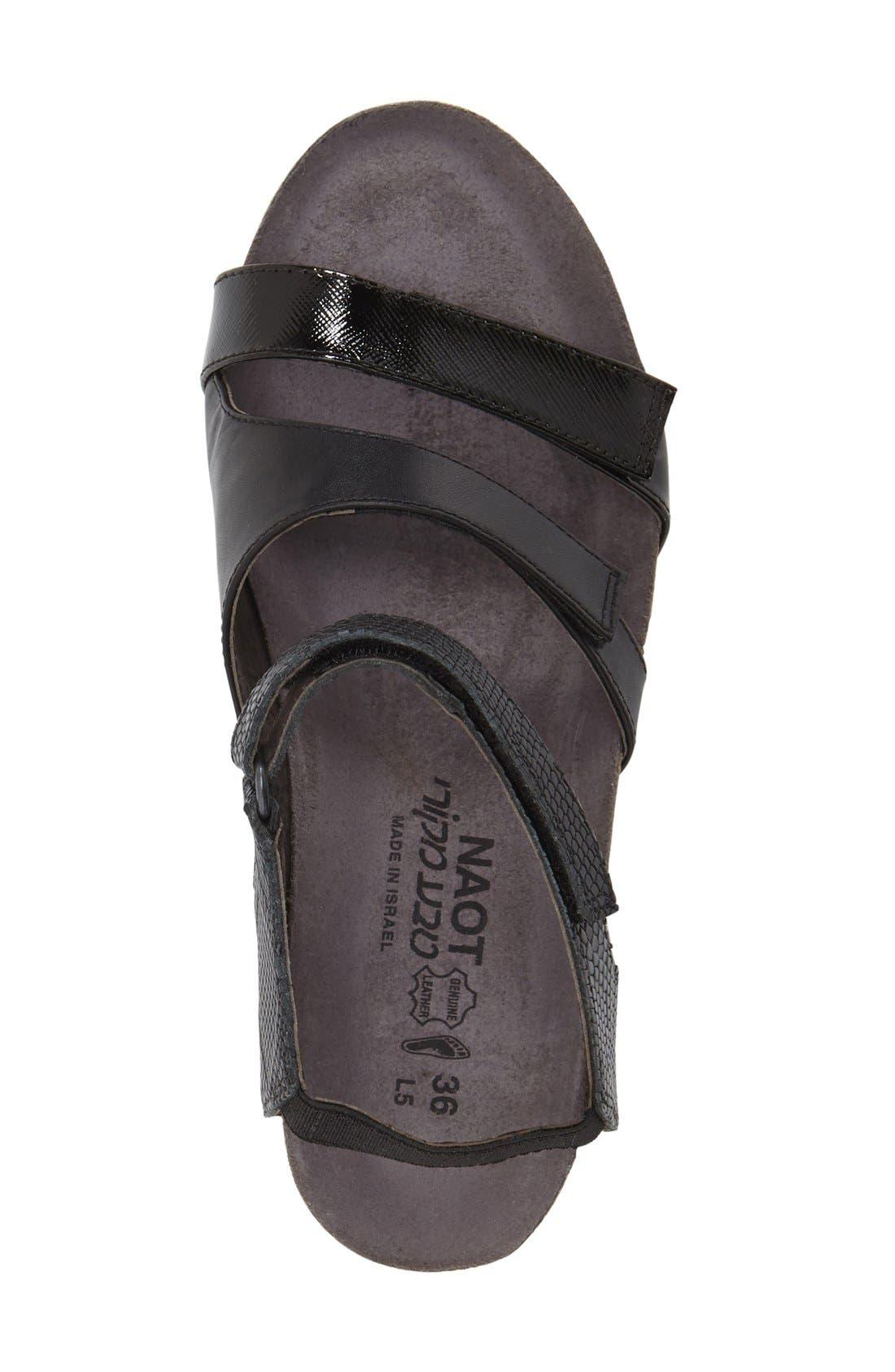 'Goddess' Sandal,                             Alternate thumbnail 3, color,                             BLACK LUSTER SNAKE LEATHER