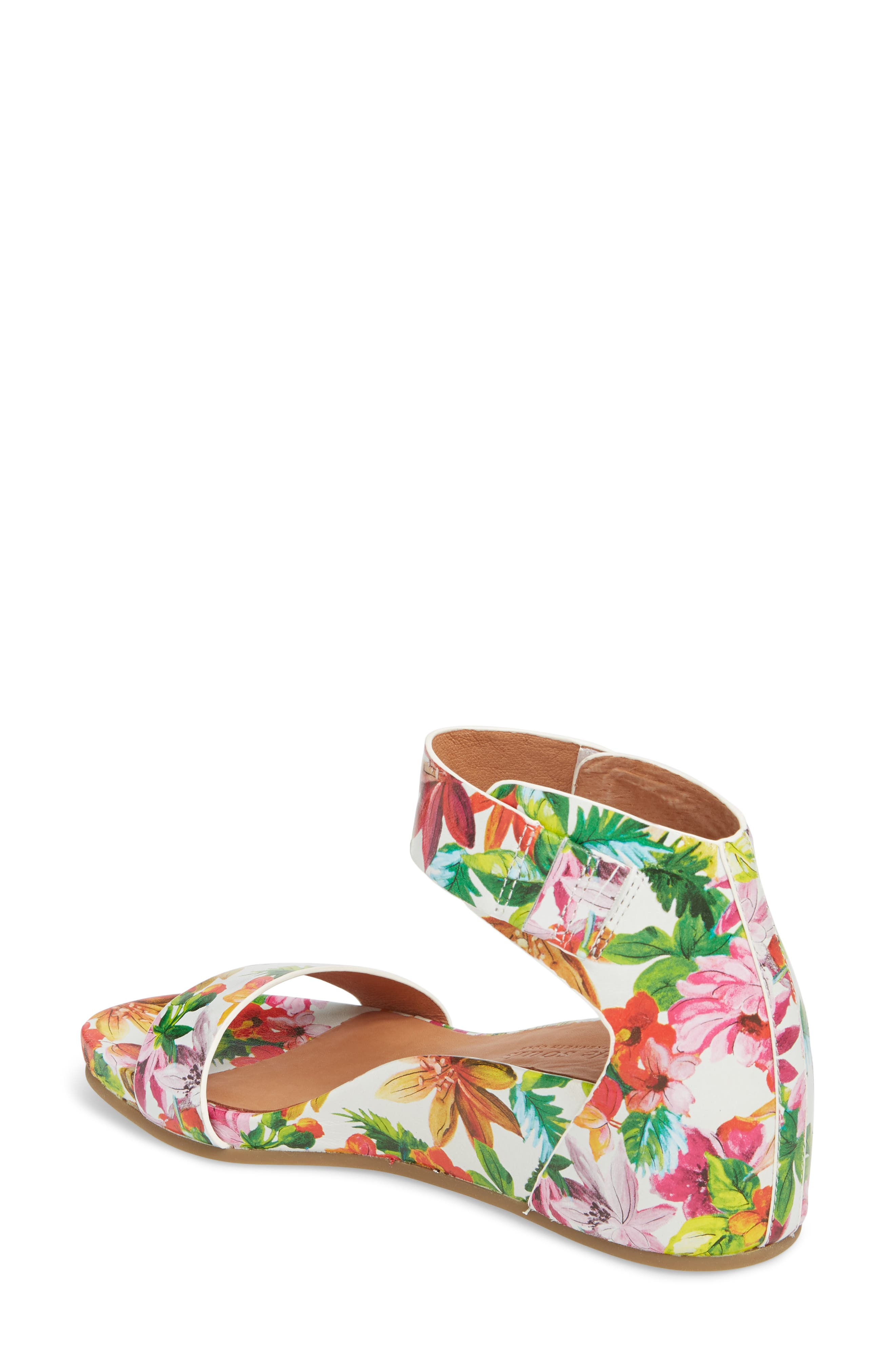 Gentle Souls by Kenneth Cole Gianna Wedge Sandal,                             Alternate thumbnail 2, color,                             PALM PRINTED LEATHER