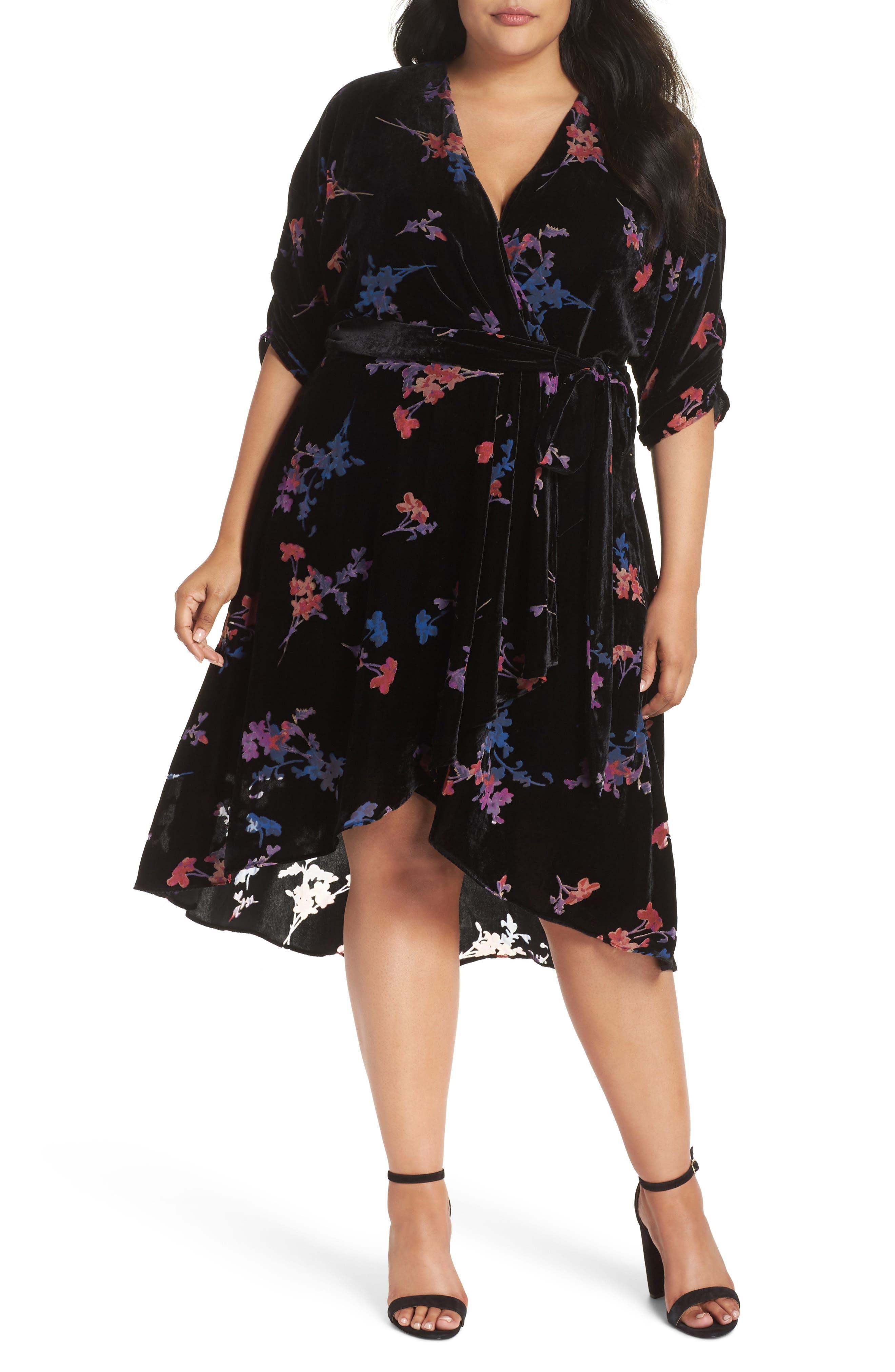 Plus Size Eliza J Velvet Tie Waist Dress, Black