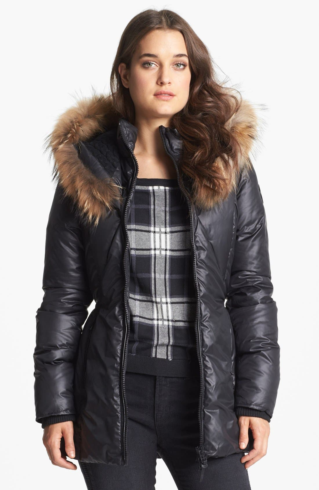 'Jordana' Genuine Coyote Fur & Cable Knit Trim Parka,                             Alternate thumbnail 4, color,                             001