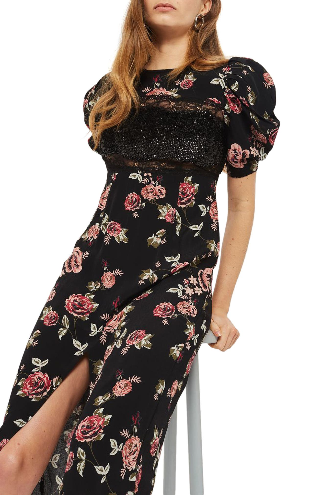 Sequined Floral Puff Sleeve Midi Dress,                             Alternate thumbnail 3, color,                             001