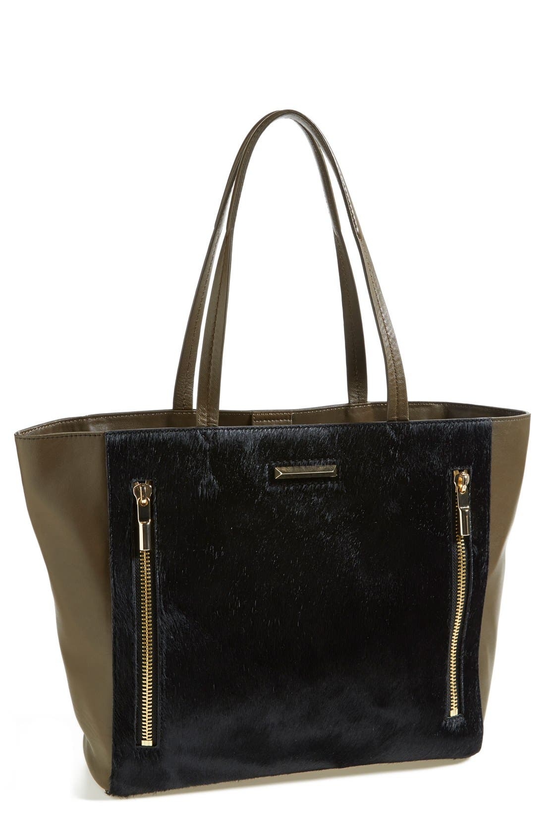 'James' Genuine Calf Hair & Leather Tote, Main, color, 001