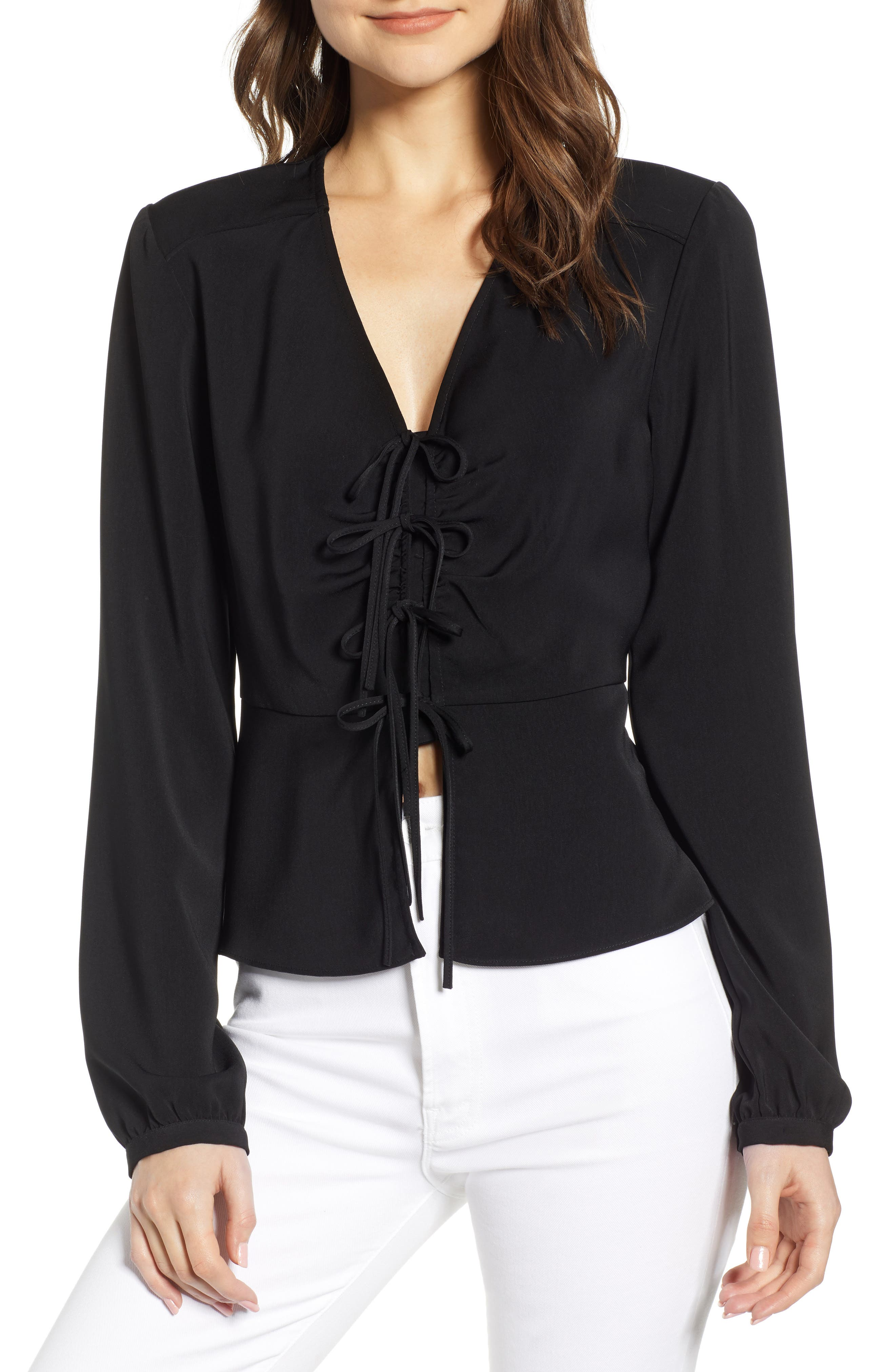 Douglas Tie Front Blouse by Wayf