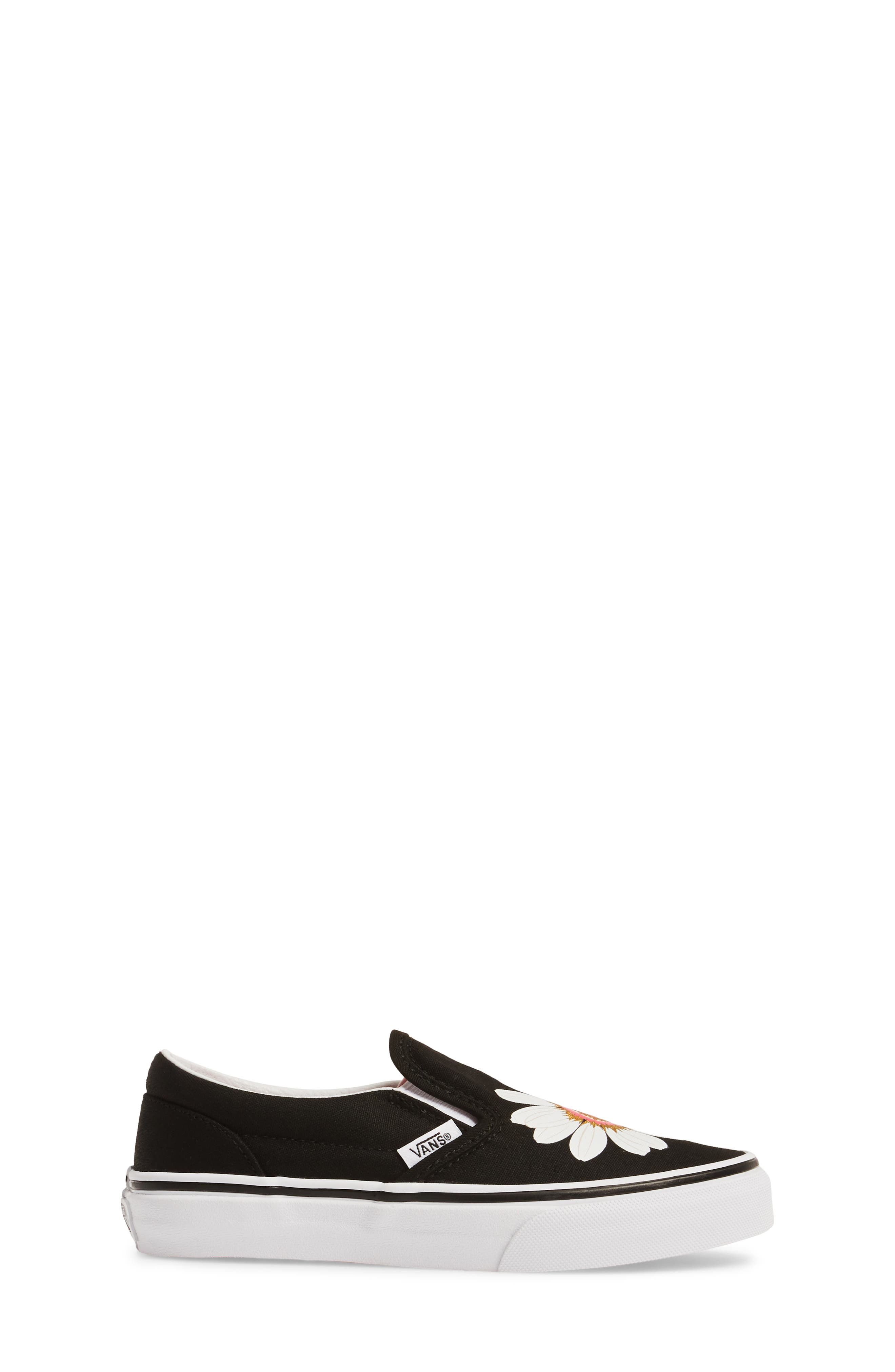 Classic Flower Slip-On Sneaker,                             Alternate thumbnail 3, color,                             001