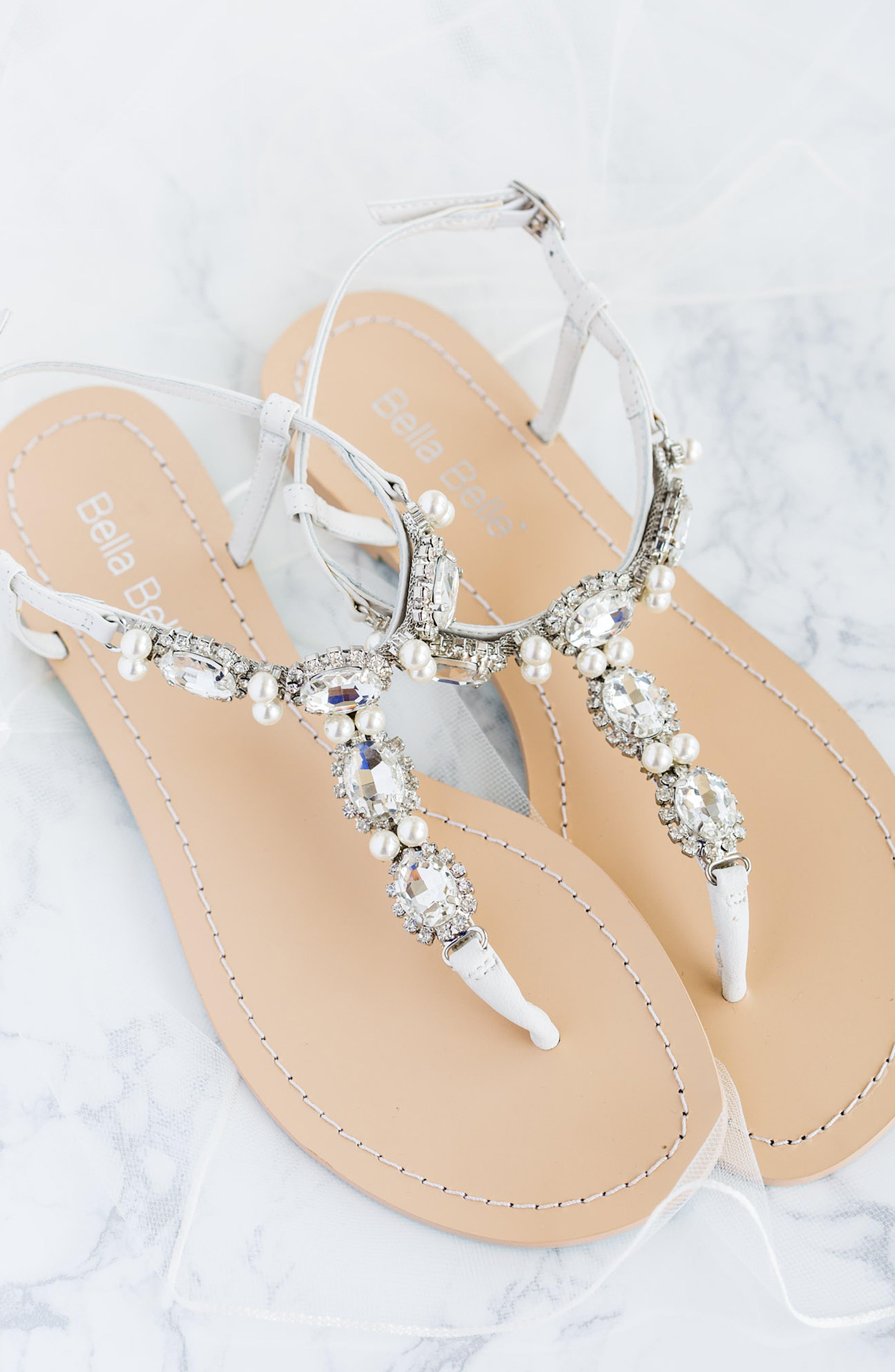 BELLA BELLE,                             Hera Embellished T-Strap Sandal,                             Alternate thumbnail 7, color,                             OFF WHITE LEATHER