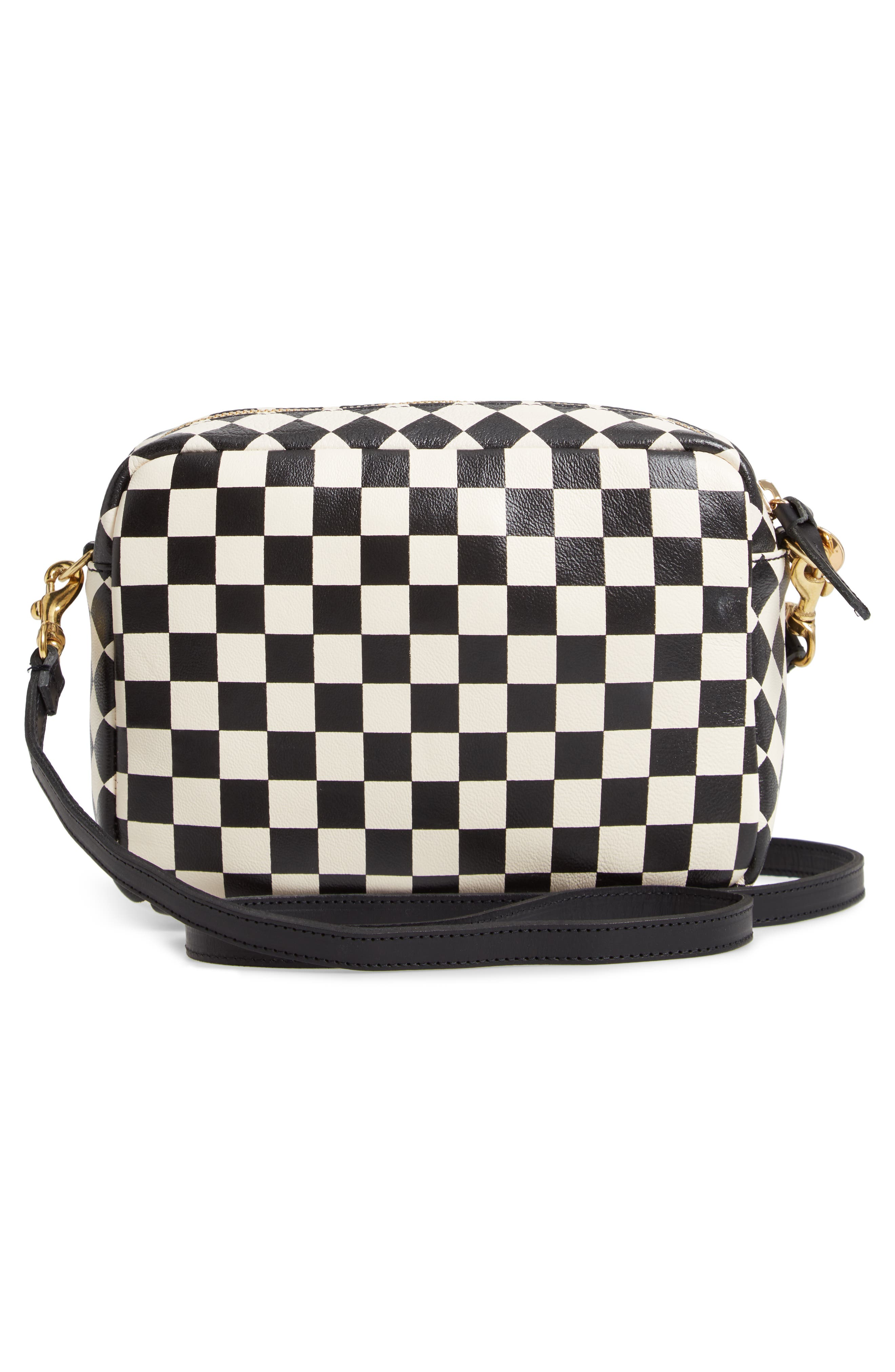 Midi Sac Check Leather Shoulder Bag,                             Alternate thumbnail 3, color,                             CREAM/ BLACK CHECKERS