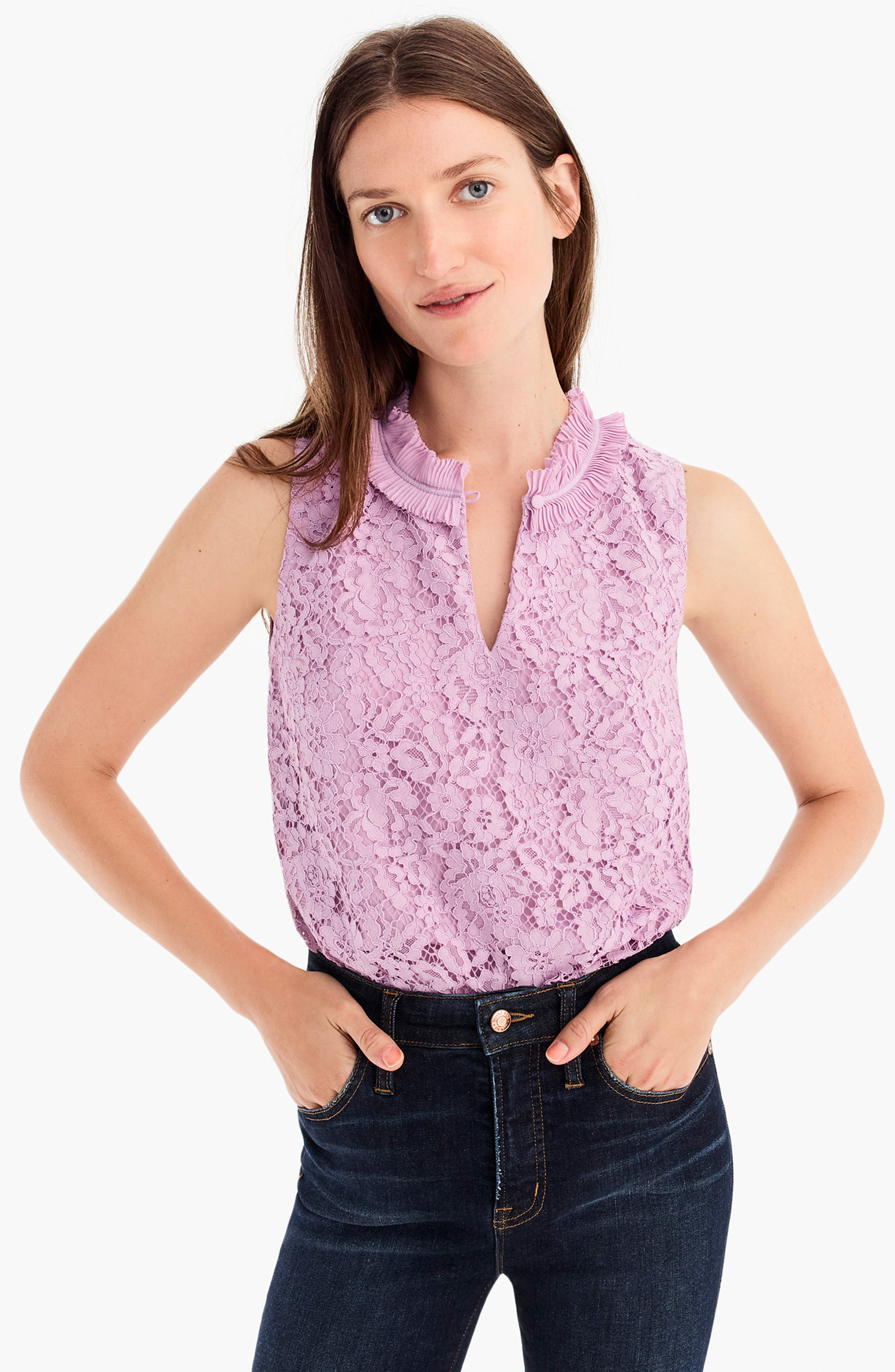 Lace Ruffle Neck Top,                             Alternate thumbnail 7, color,                             VIVID LILAC