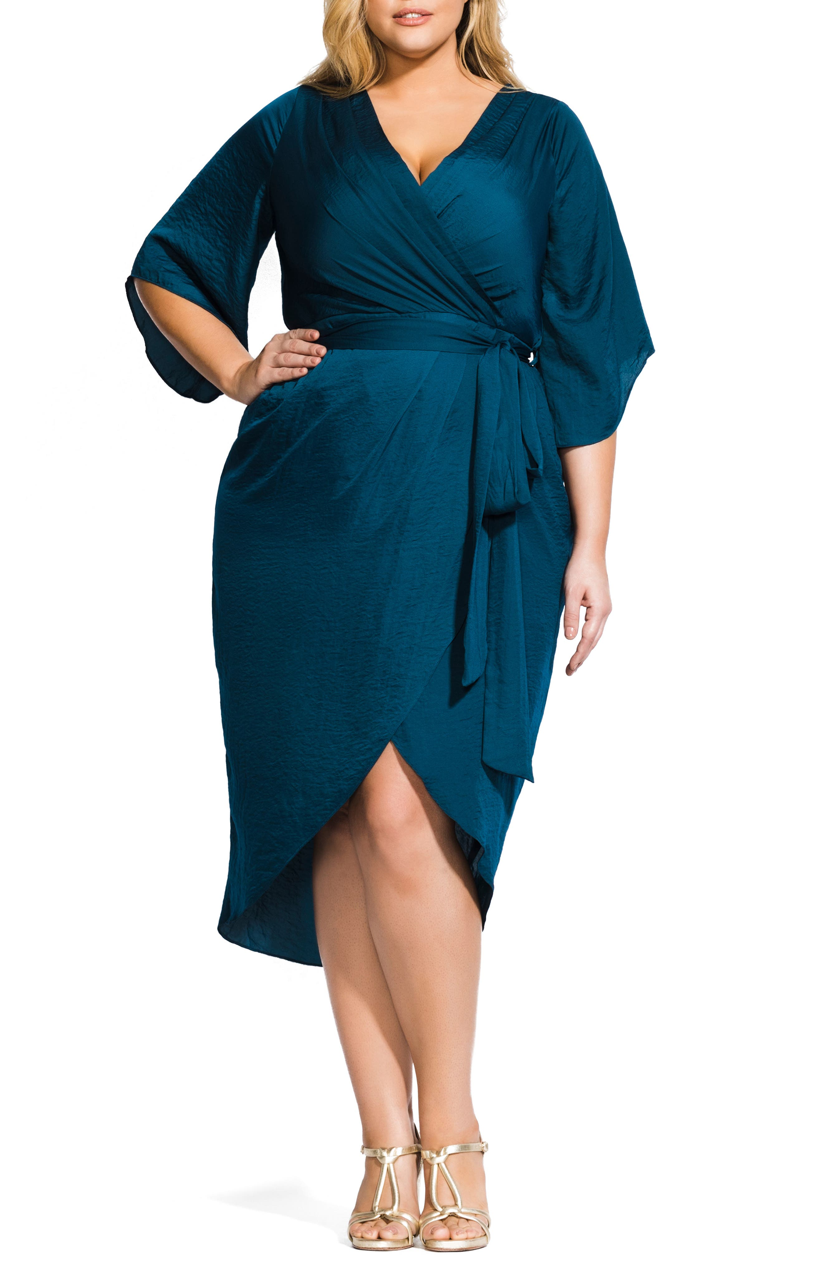 Opulent Hammered Satin Wrap Style Dress, Main, color, TEAL