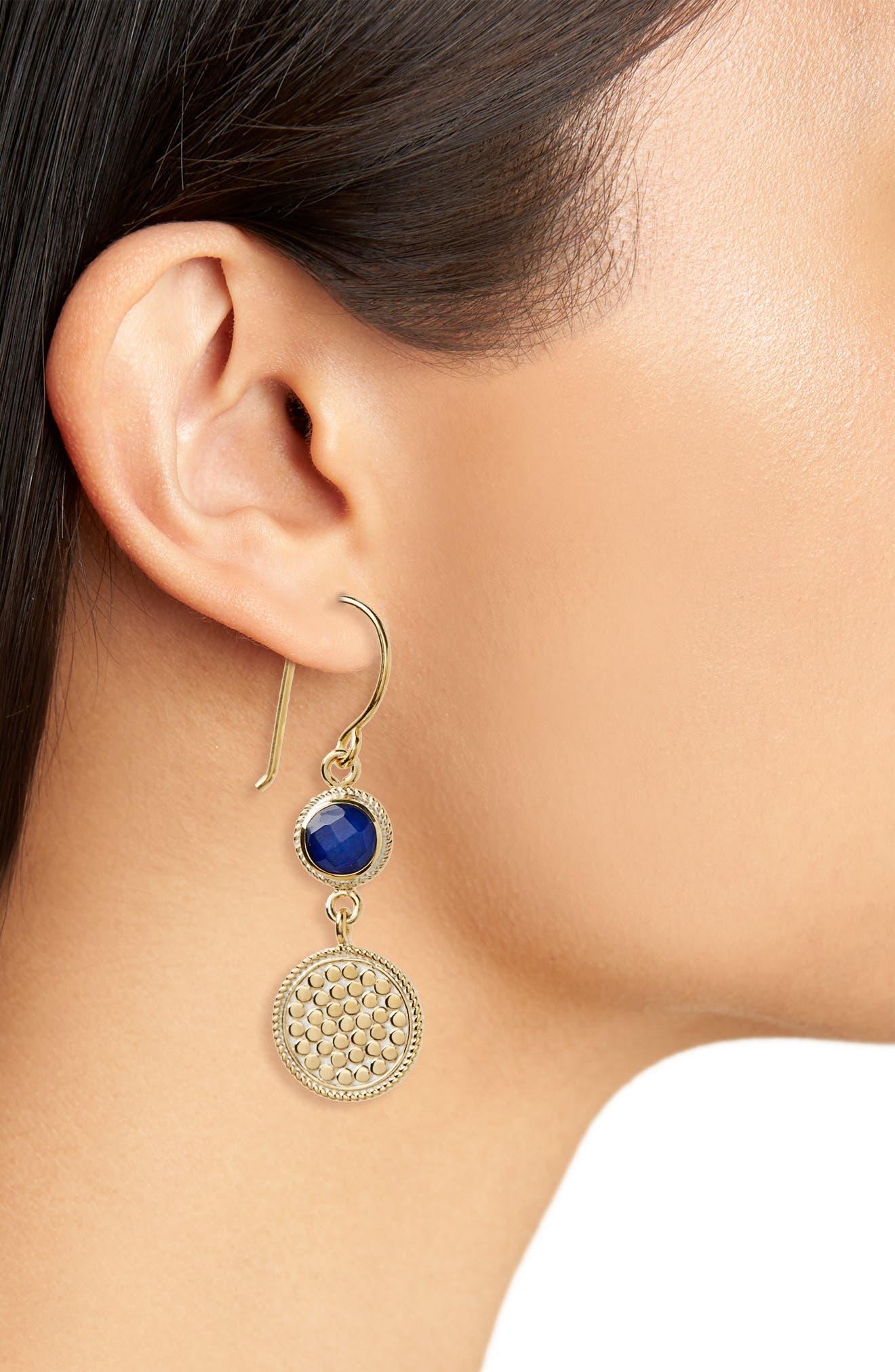 Semiprecious Stone Double Drop Earrings,                             Alternate thumbnail 2, color,                             BLUE LAPIS