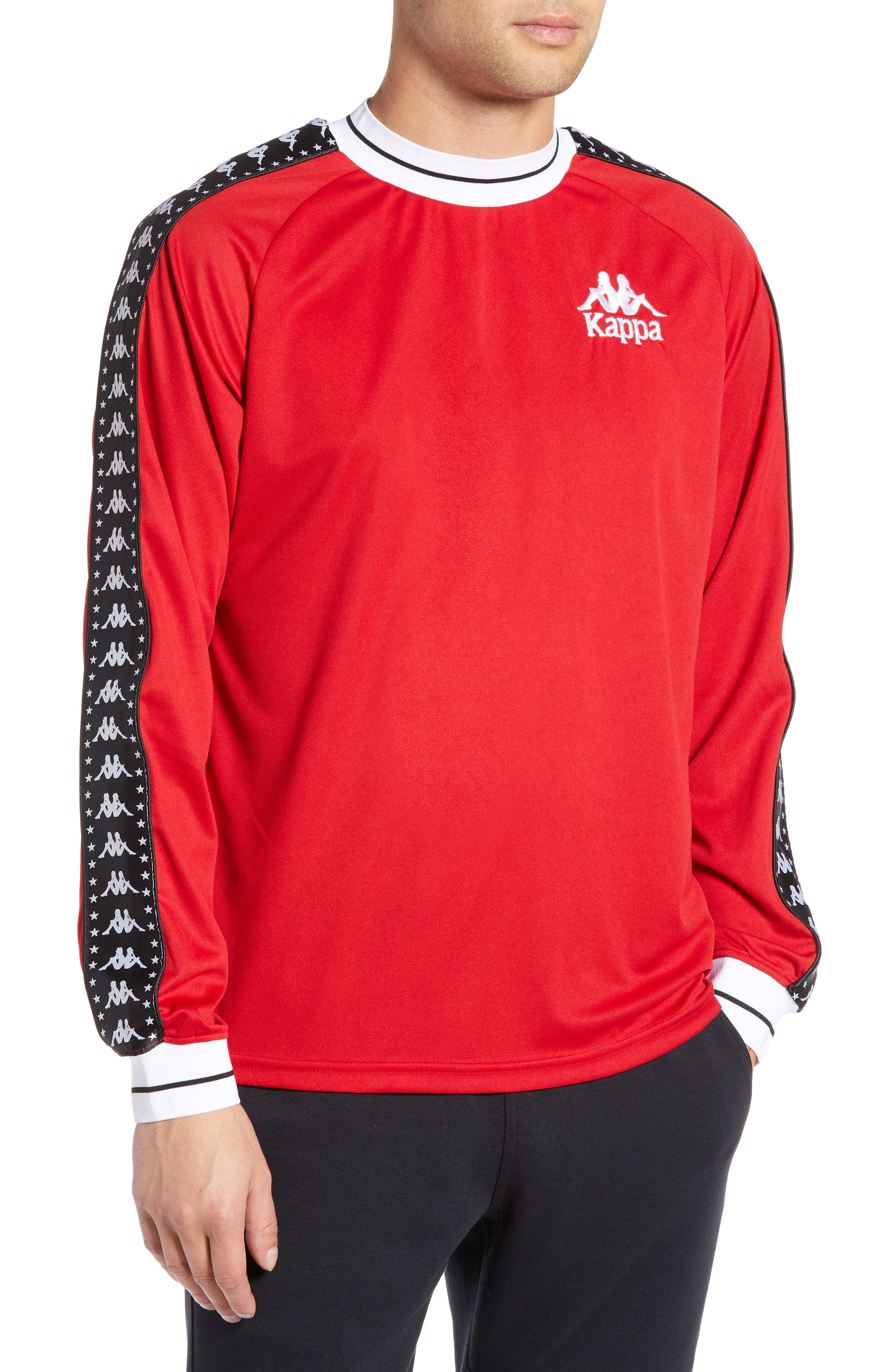 Authentic Aneat Logo Taped Long Sleeve T-Shirt,                         Main,                         color, RED/ BLACK/ WHITE