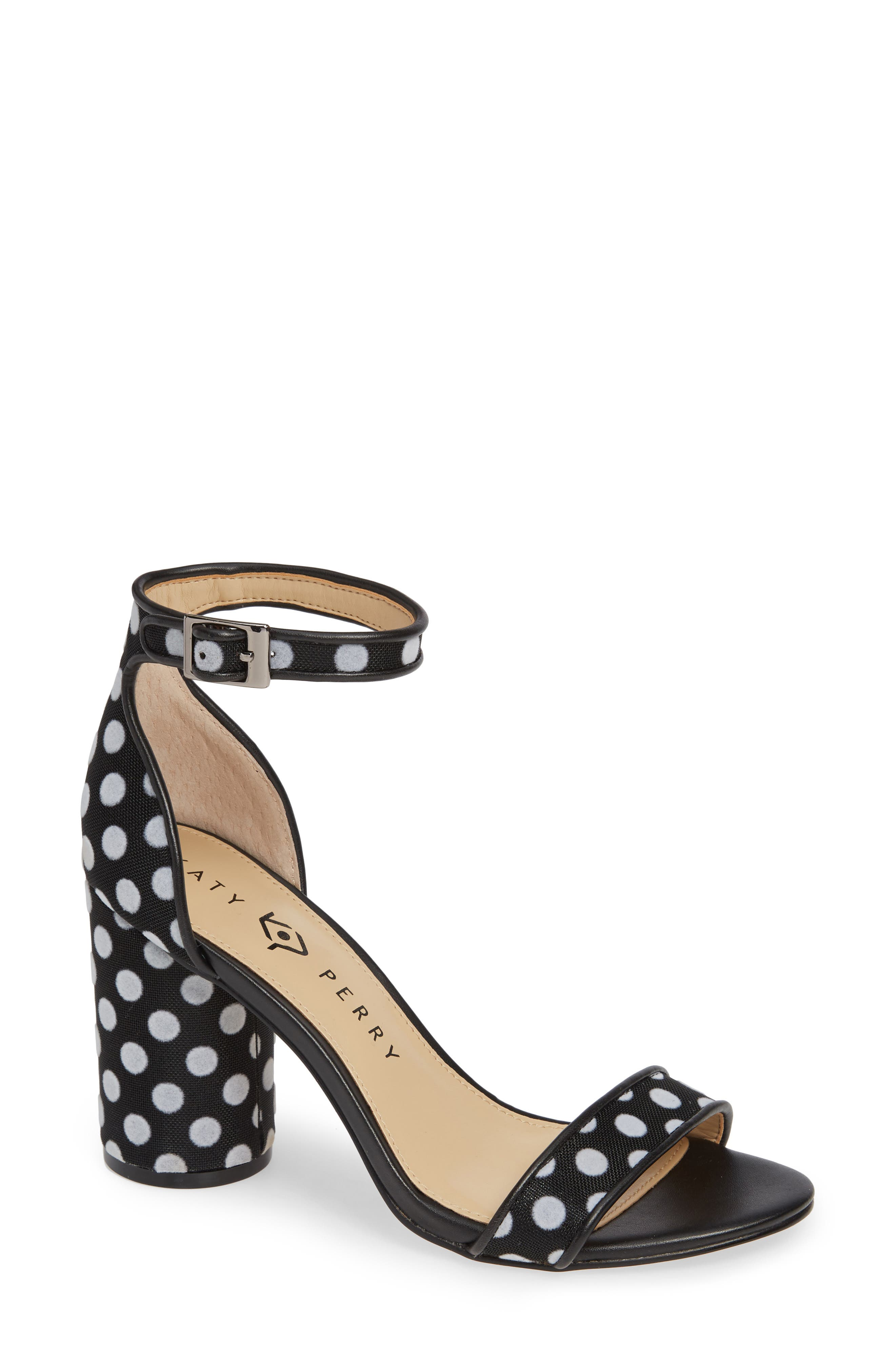 KATY PERRY Ankle Strap Sandal in Black/ White