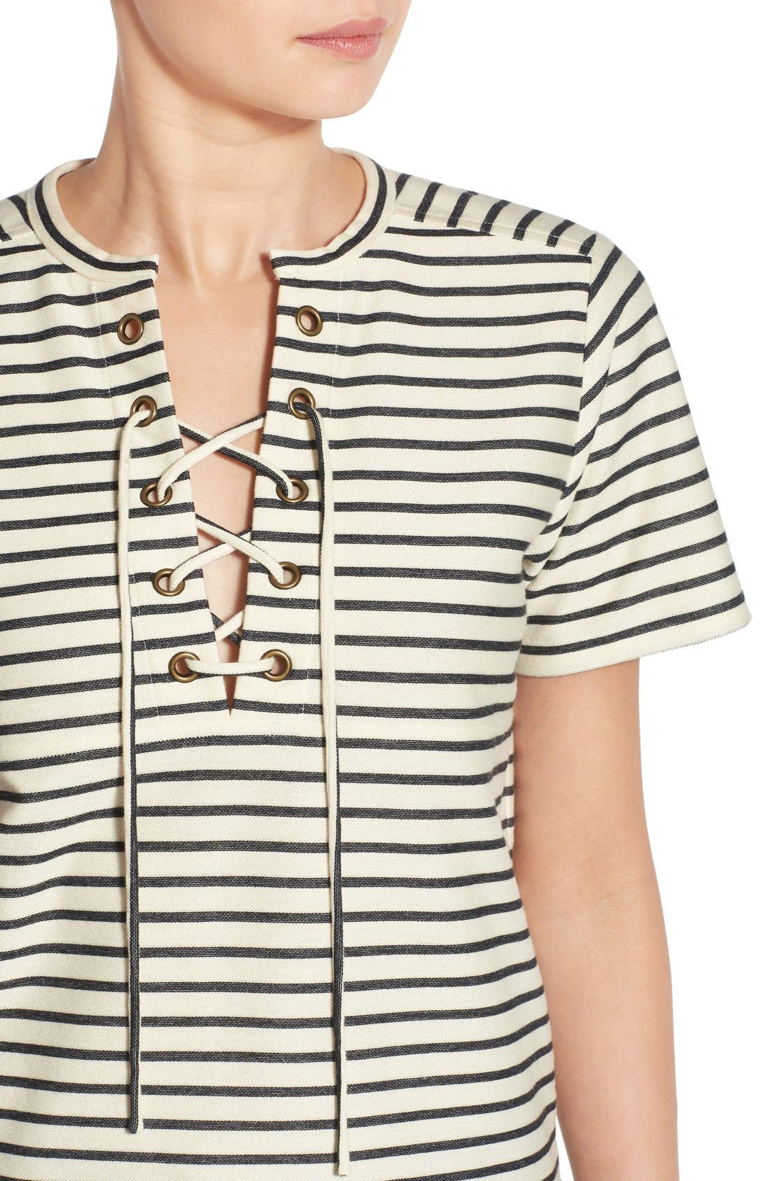 Stripe Lace-Up Top,                             Alternate thumbnail 5, color,                             900