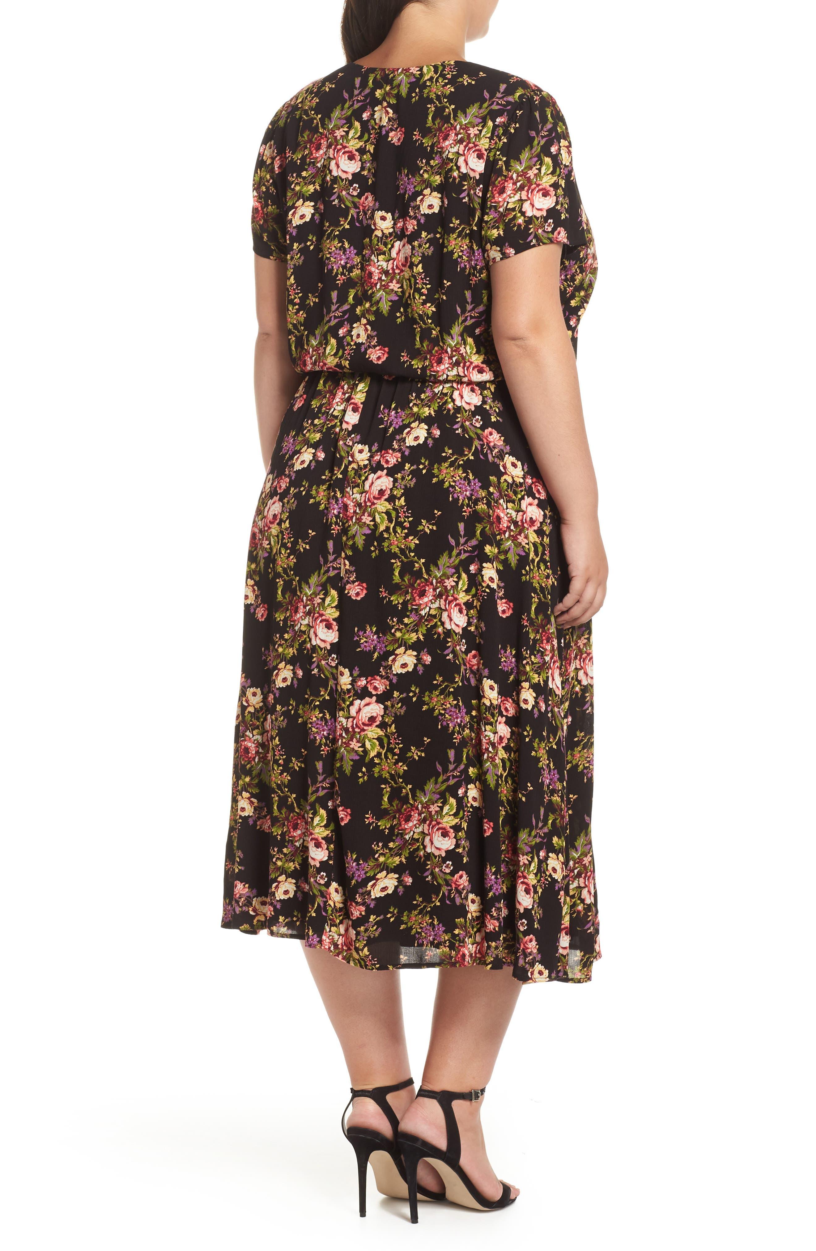 Blouson Midi Dress,                             Alternate thumbnail 2, color,                             BLACK TAPESTRY FLORAL