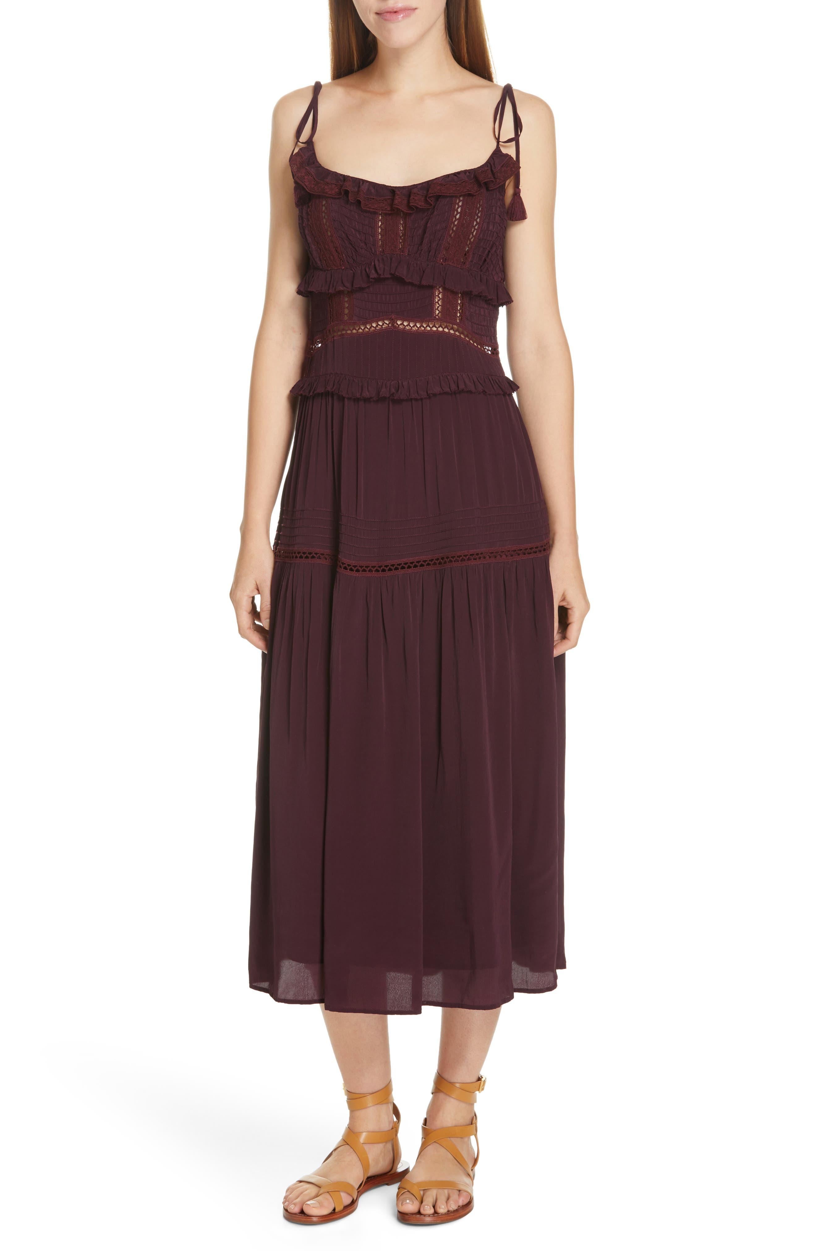 Sea Poppy Ruffle Midi Dress, Purple