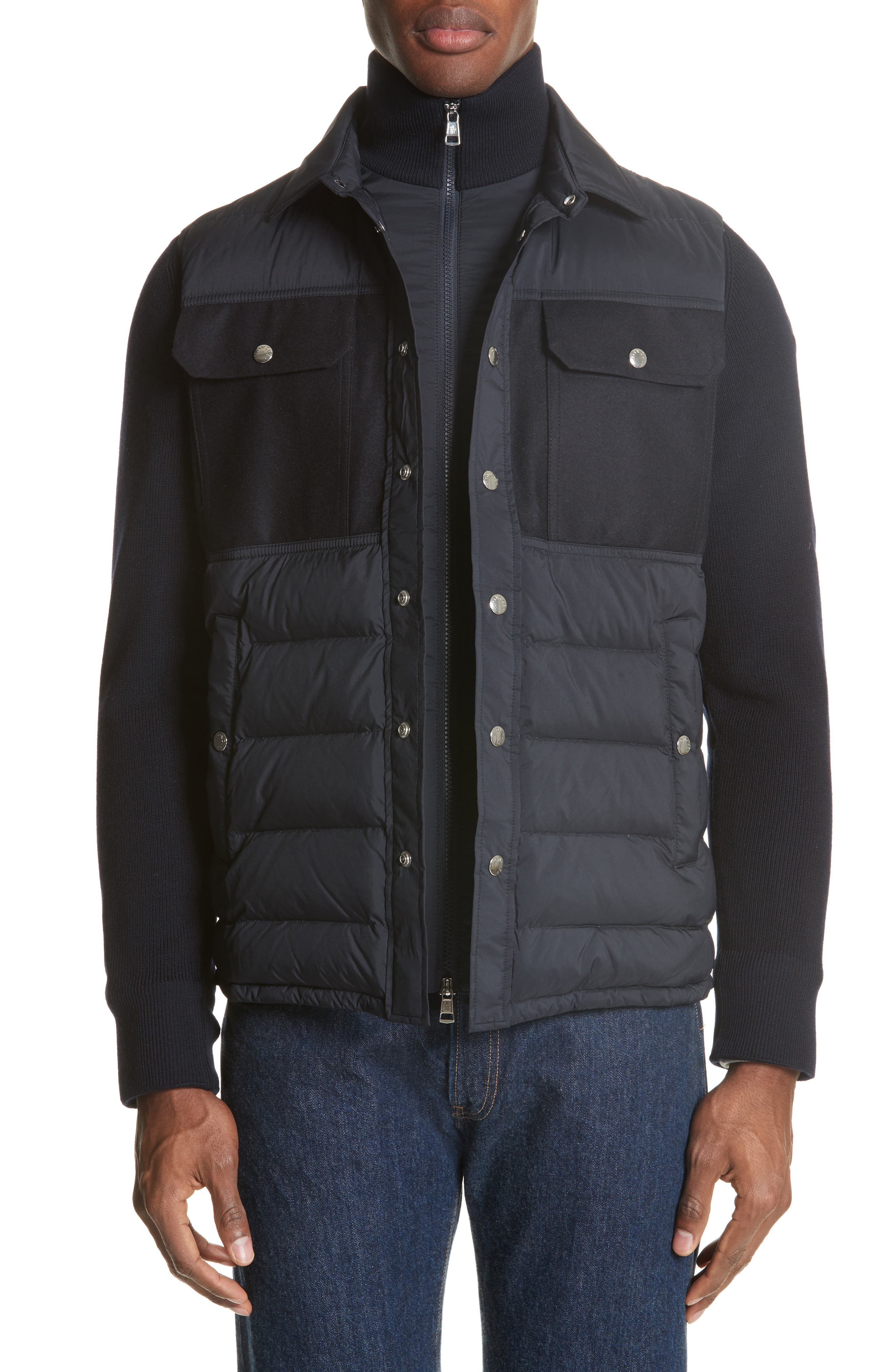 Maglione Two-Tone Down Jacket, Main, color, NAVY