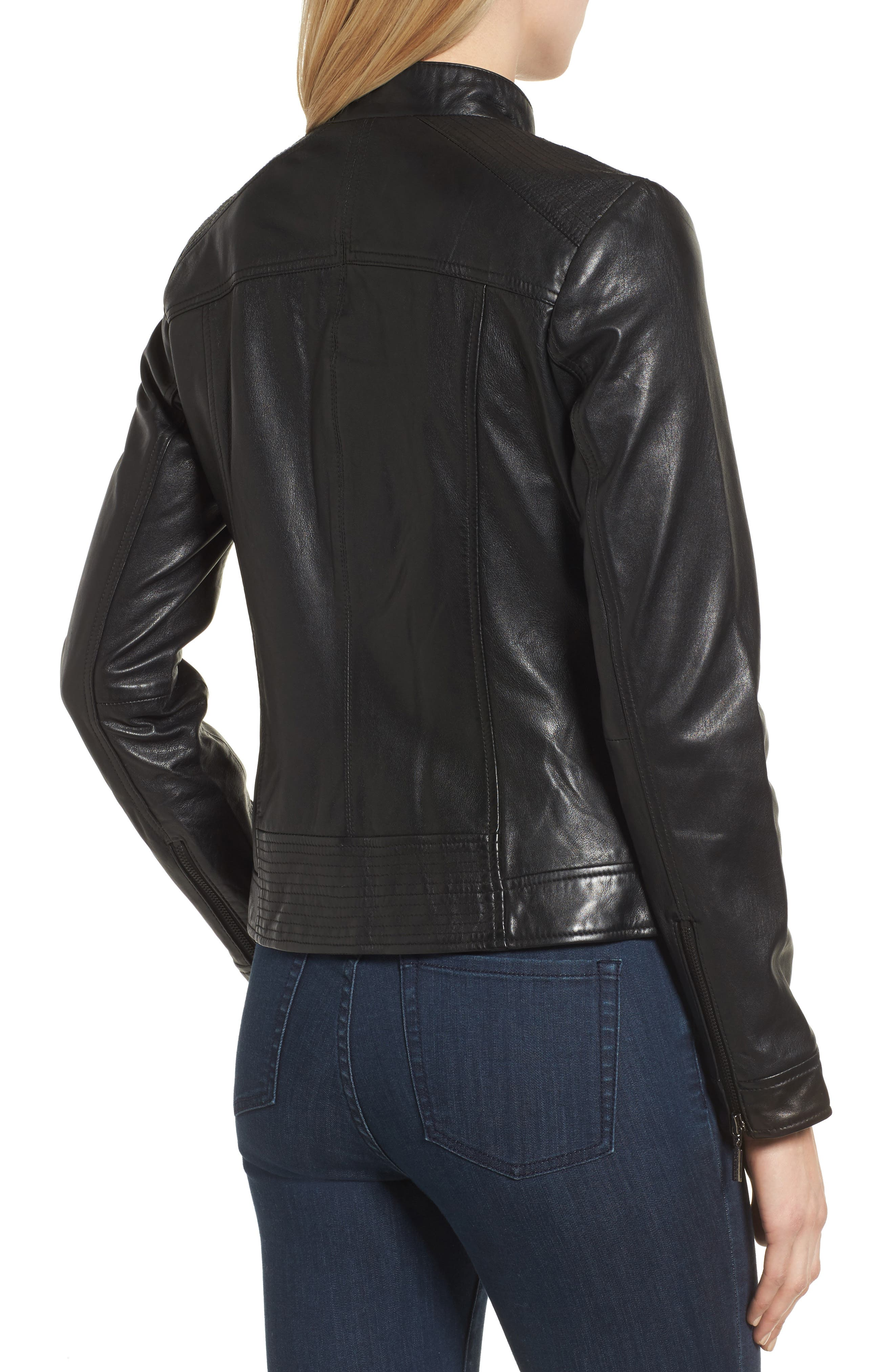 Kerwin Pocket Detail Leather Jacket,                             Alternate thumbnail 2, color,                             001