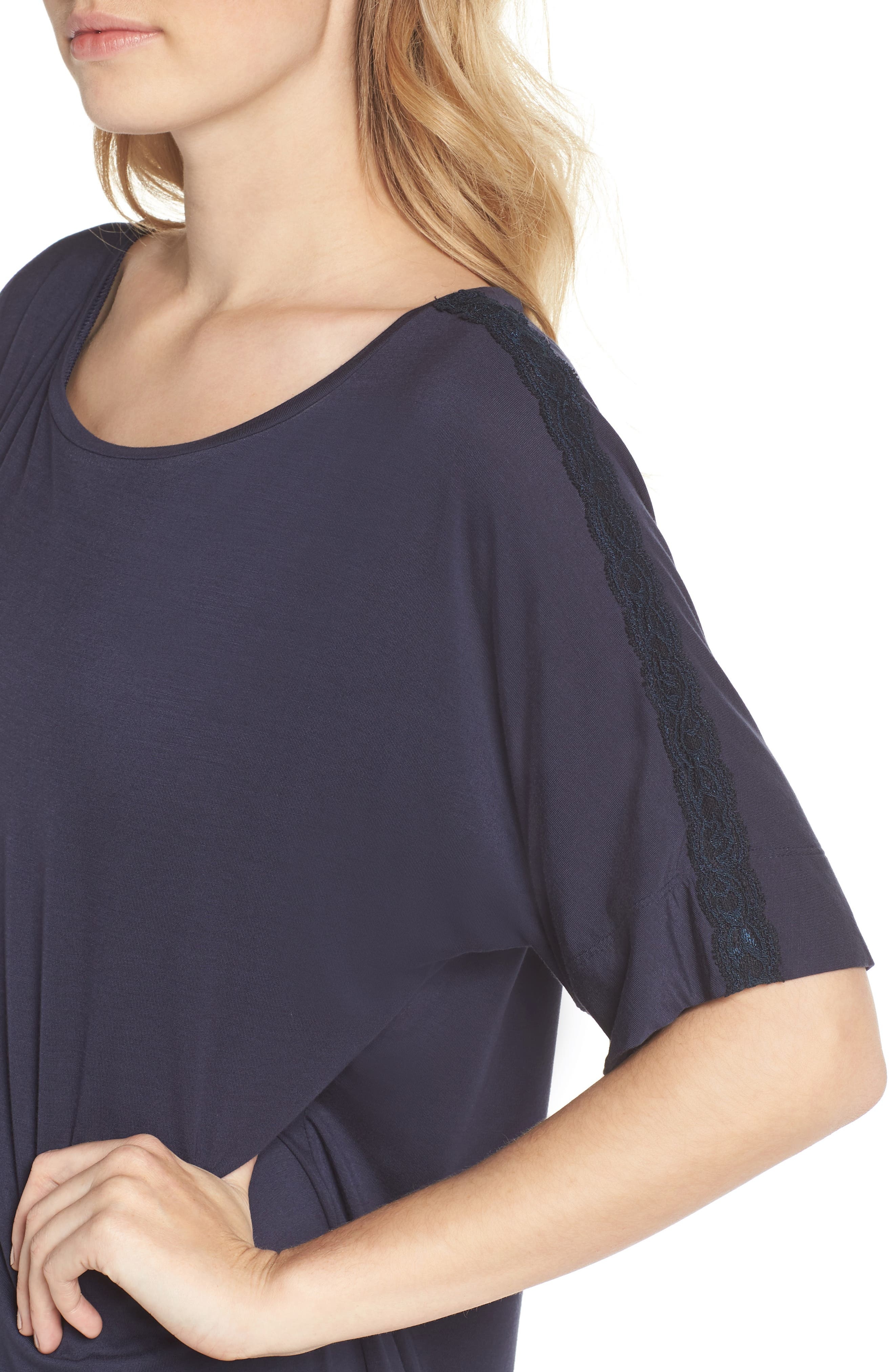 Feathers Essential Sleep Shirt,                             Alternate thumbnail 4, color,                             NIGHT BLUE
