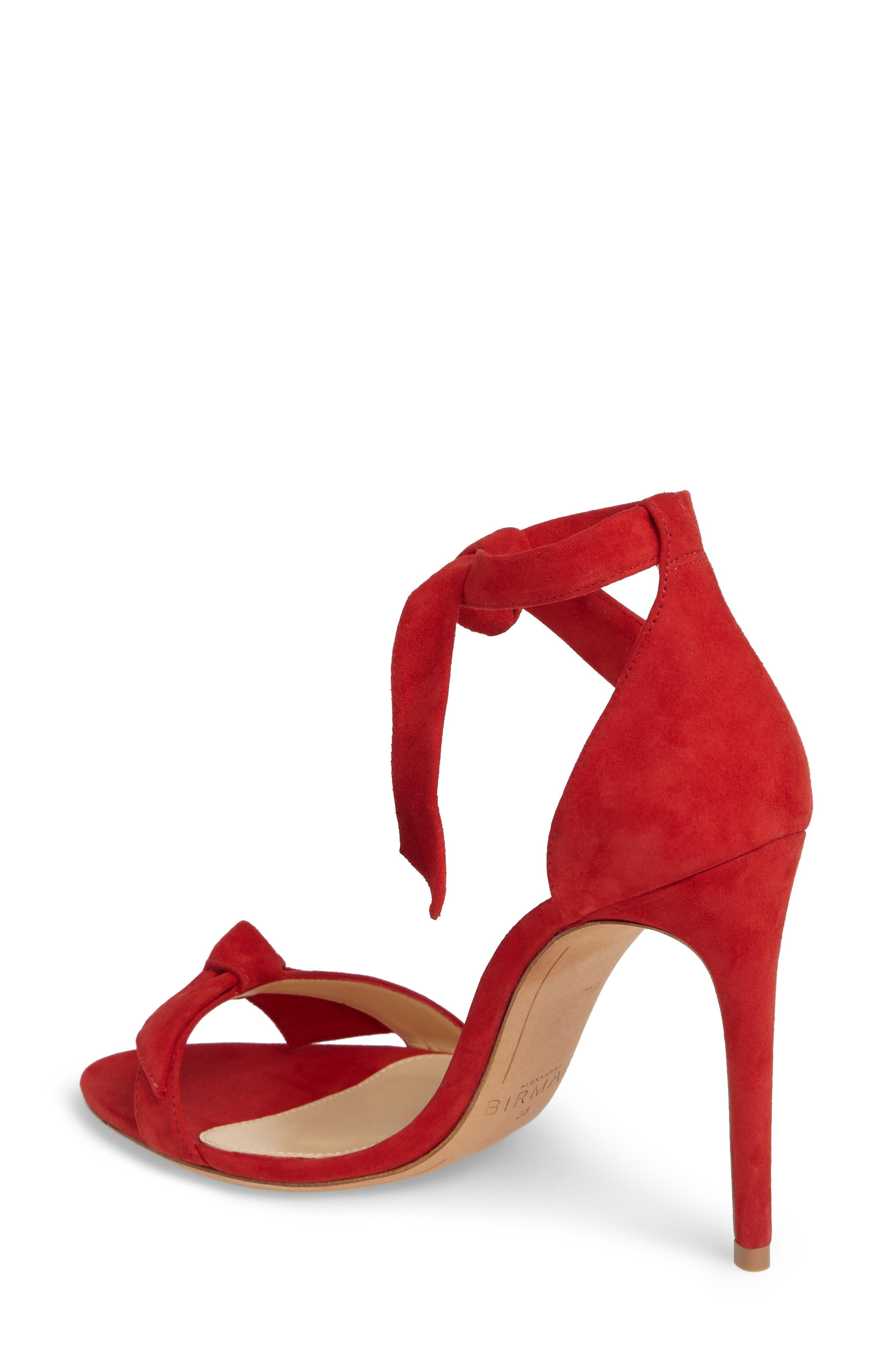 'Clarita' Ankle Tie Sandal,                             Alternate thumbnail 2, color,                             FLAME SUEDE