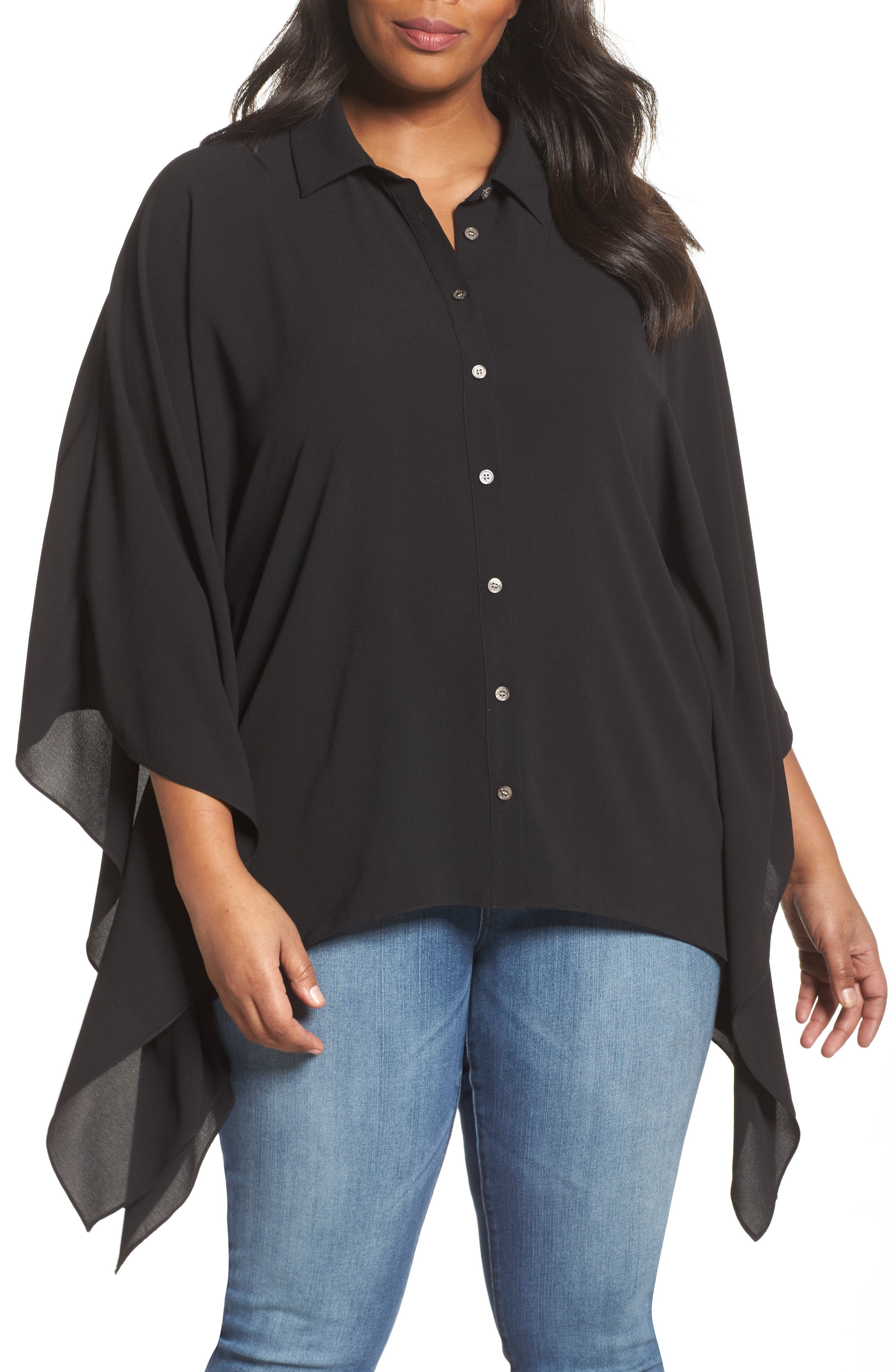 Button Down Collared Poncho Top,                         Main,                         color, 006