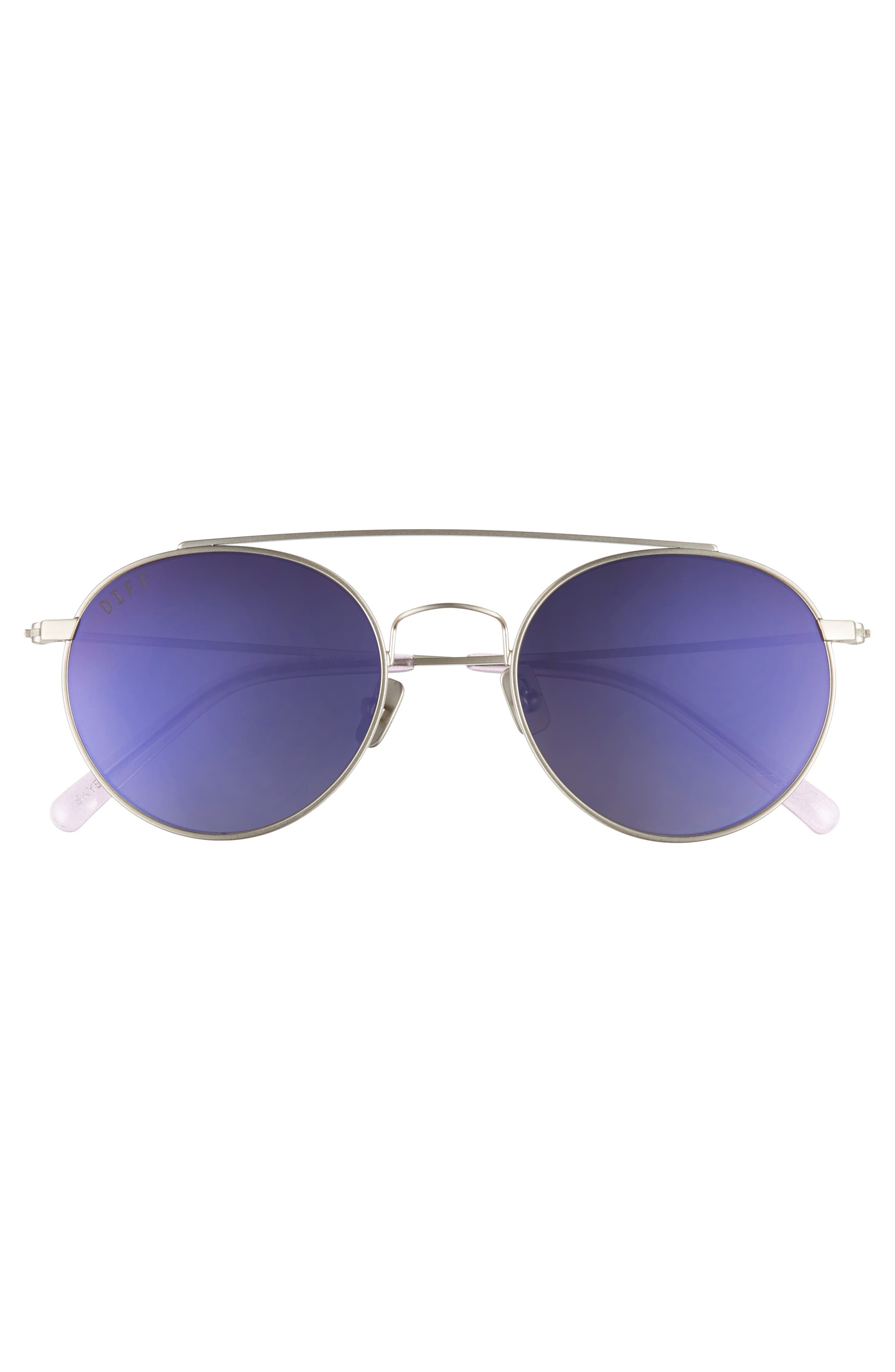 x Jessie James Decker Skye 52mm Polarized Round Sunglasses,                             Alternate thumbnail 3, color,                             BRUSHED SILVER/ PURPLE
