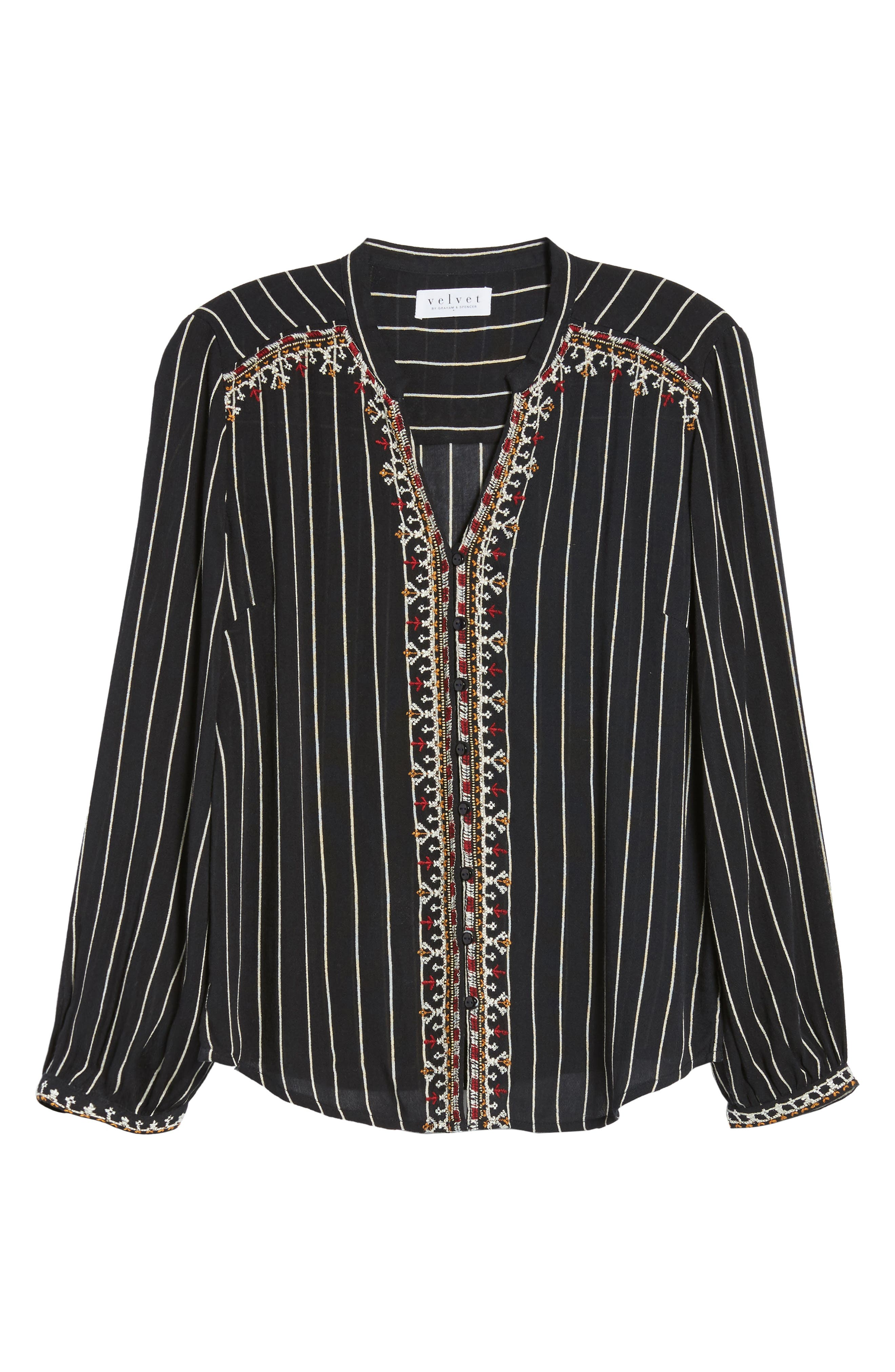 VELVET BY GRAHAM & SPENCER,                             Embroidered Top,                             Alternate thumbnail 6, color,                             STRIPE
