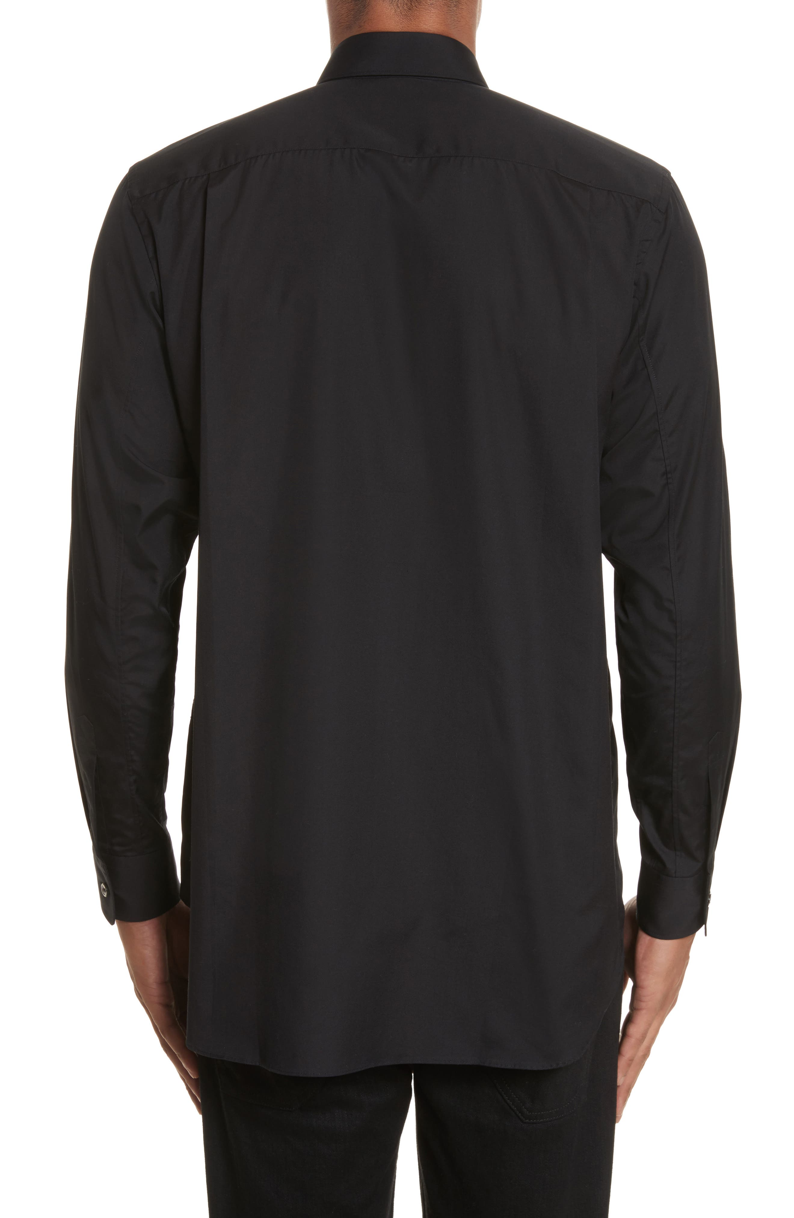 Trim Fit Oxford Shirt,                             Alternate thumbnail 3, color,                             BLACK