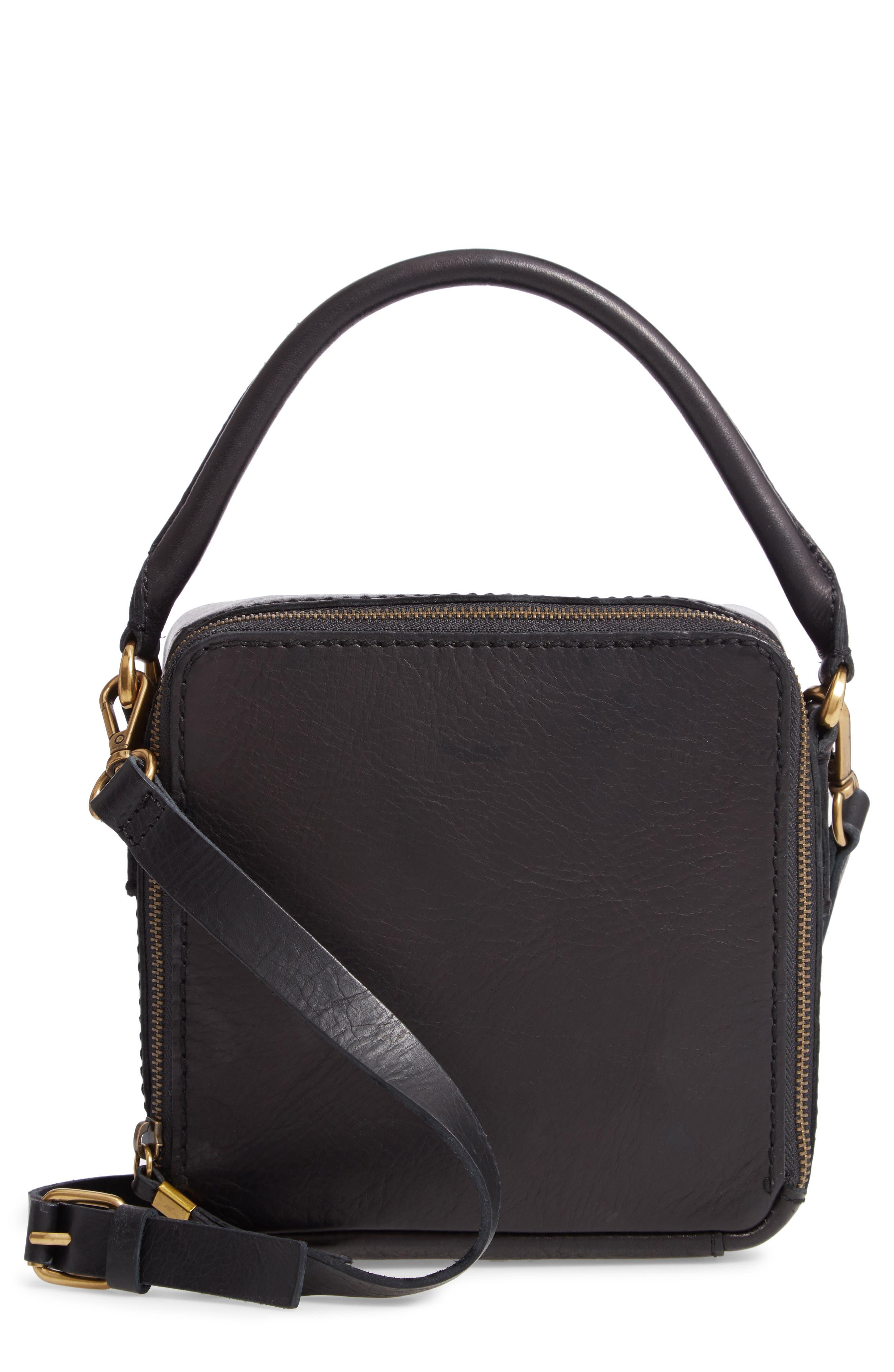 The Square Satchel Bag,                         Main,                         color, TRUE BLACK
