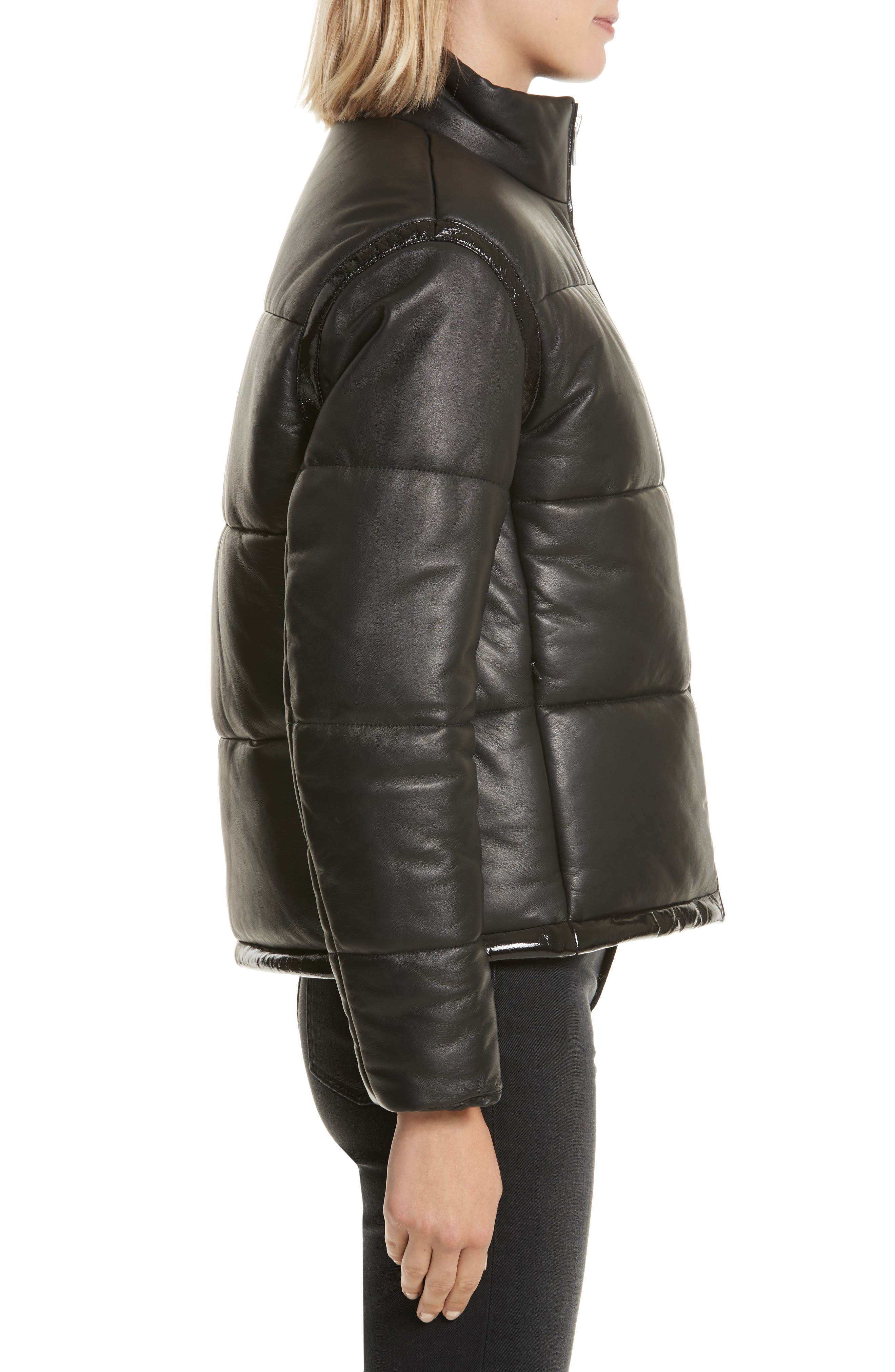 Power Puff Leather Jacket,                             Alternate thumbnail 3, color,                             001