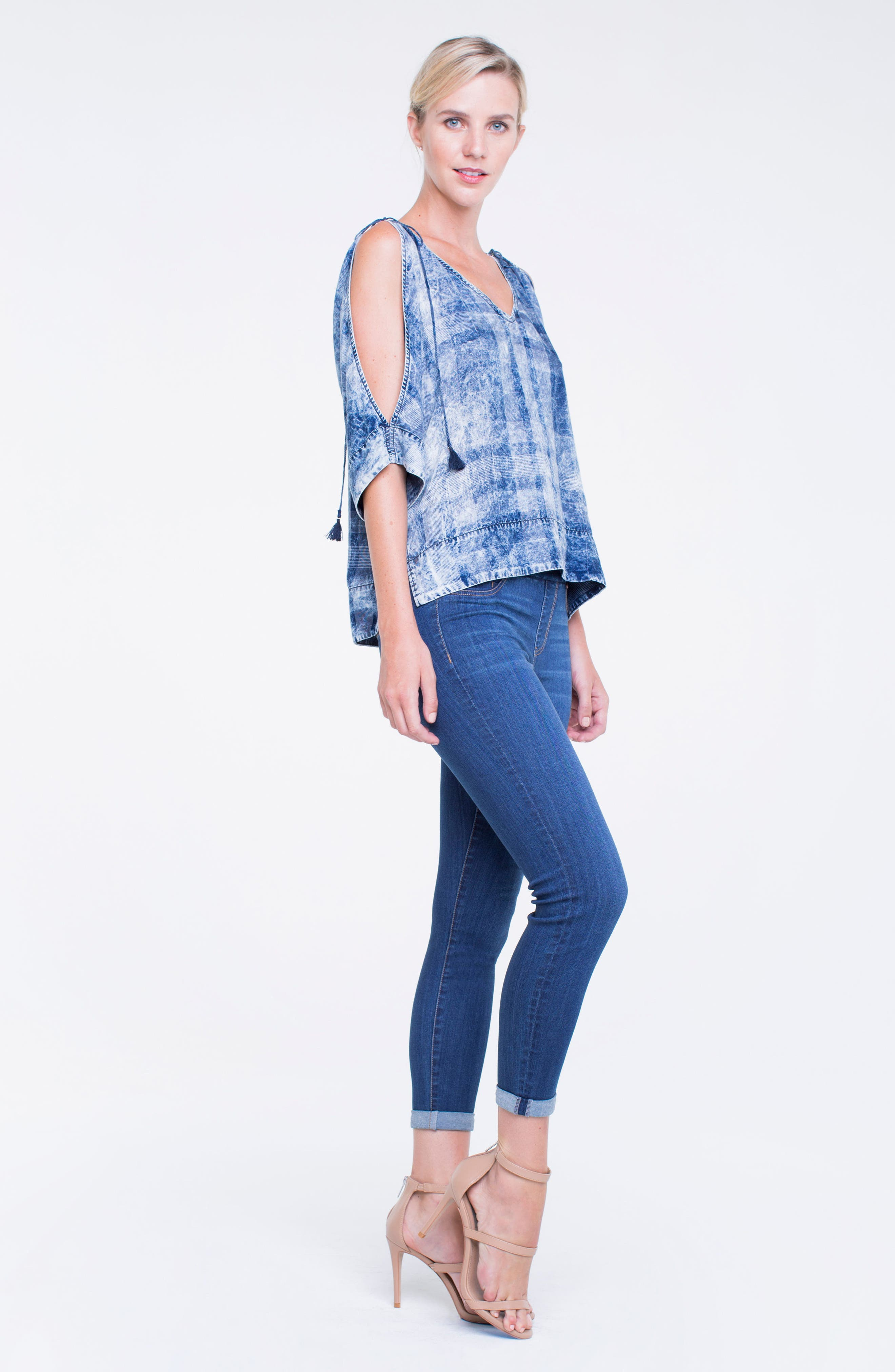 Zoe Pull-On Rolled Cuff Crop Jeans,                             Alternate thumbnail 5, color,                             403
