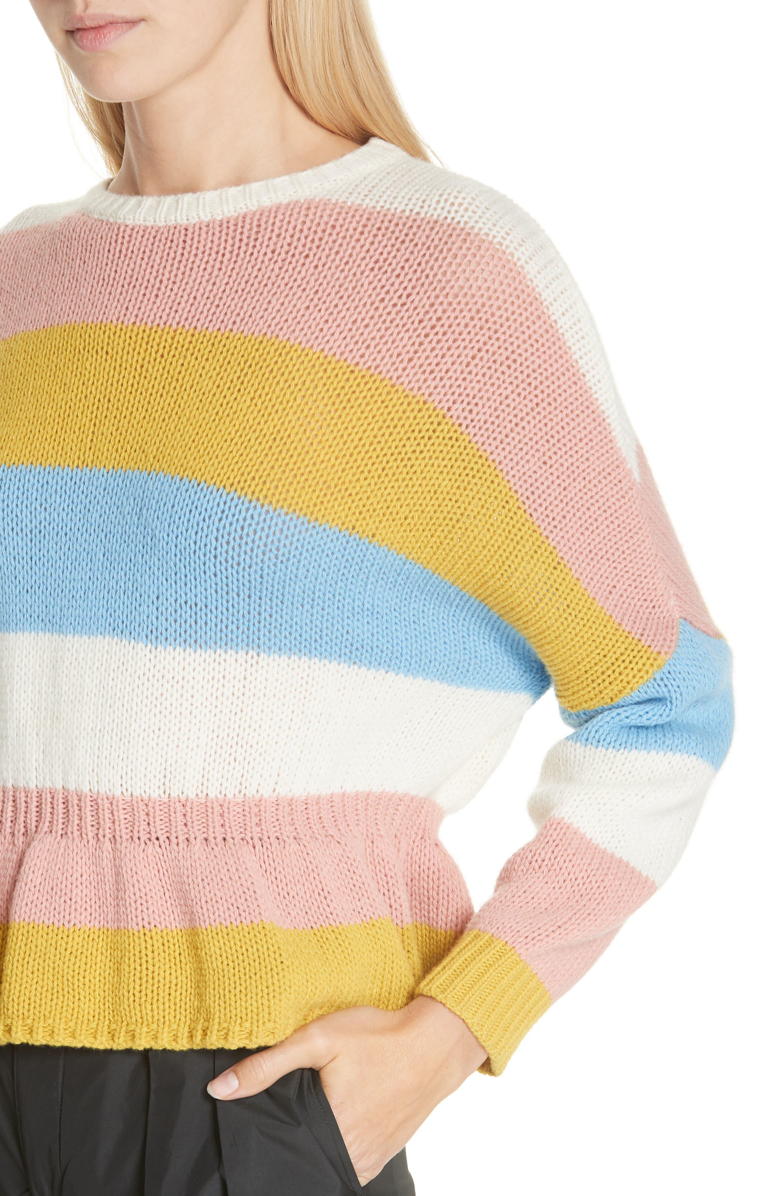 RED VALENTINO,                             Ruffle Hem Stripe Wool Sweater,                             Alternate thumbnail 4, color,                             110