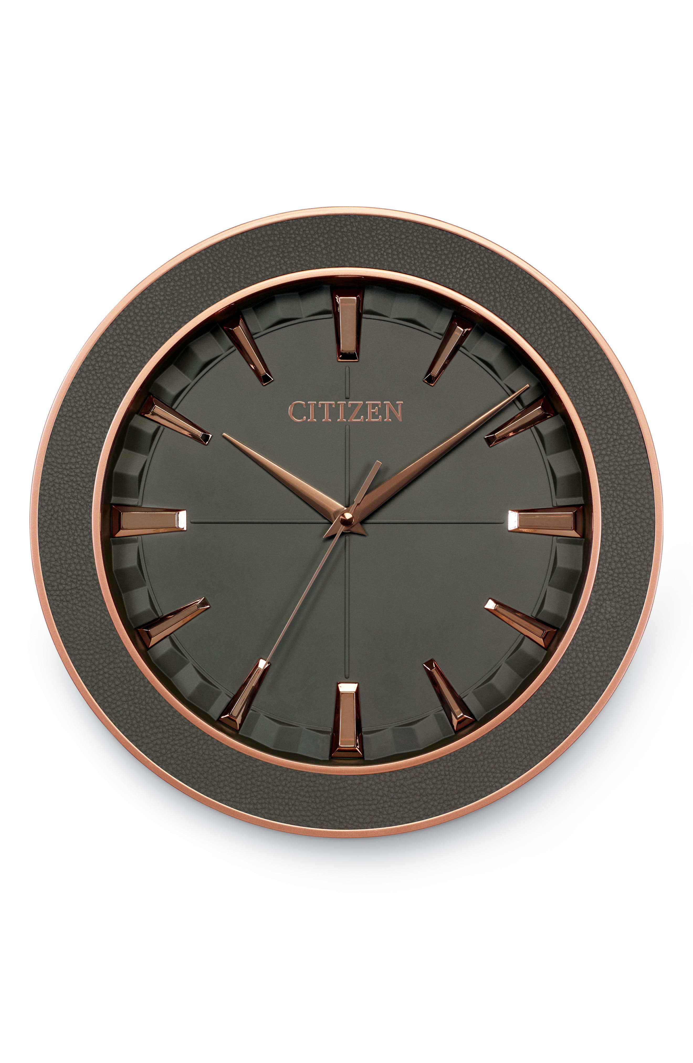 Leather Gallery Wall Clock,                             Main thumbnail 1, color,                             GREY