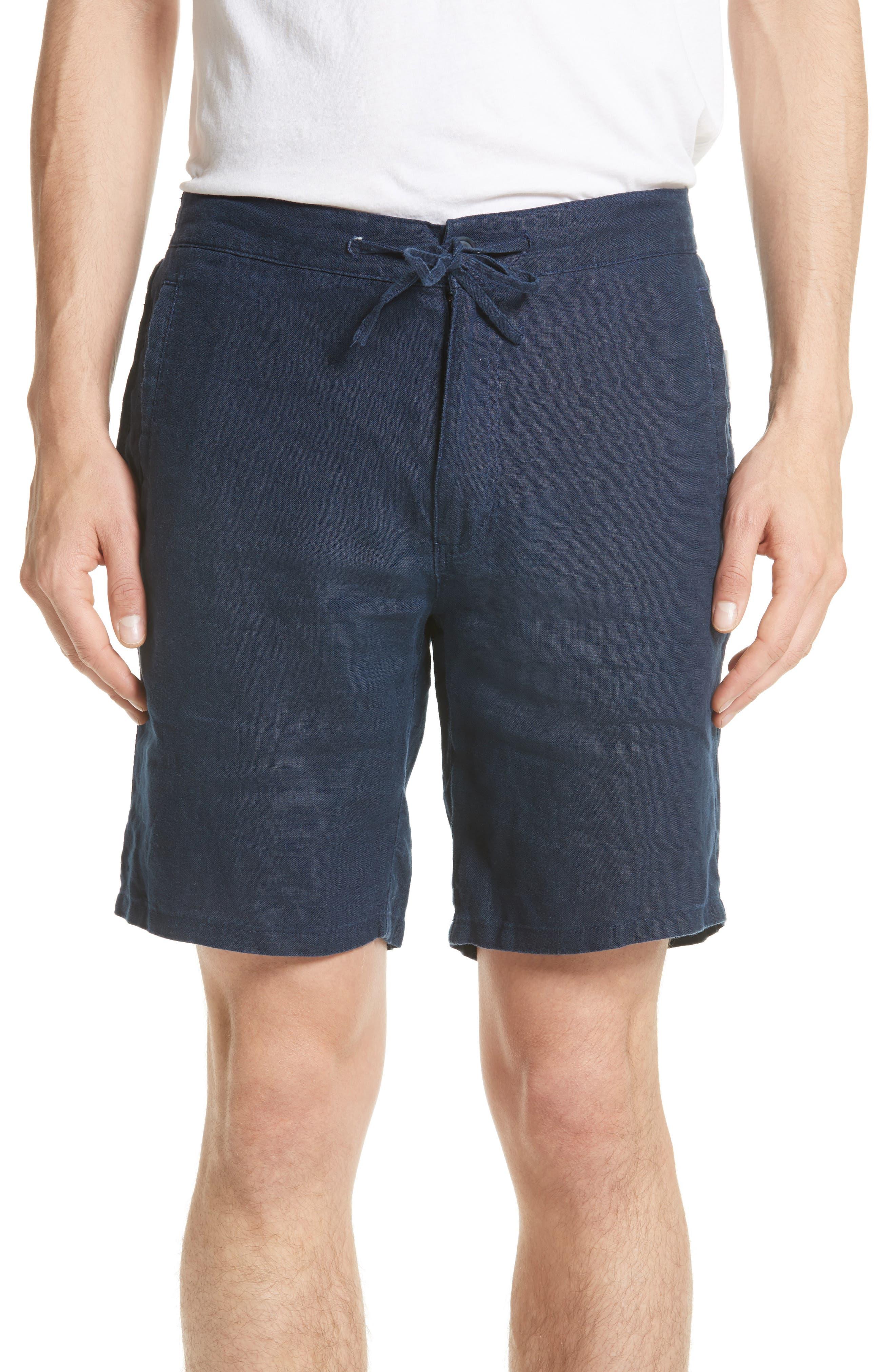 Max Linen Shorts,                         Main,                         color, DEEP NAVY
