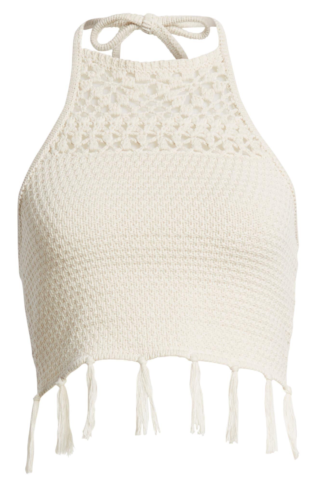 Fringe Sweater Halter Top,                             Alternate thumbnail 7, color,