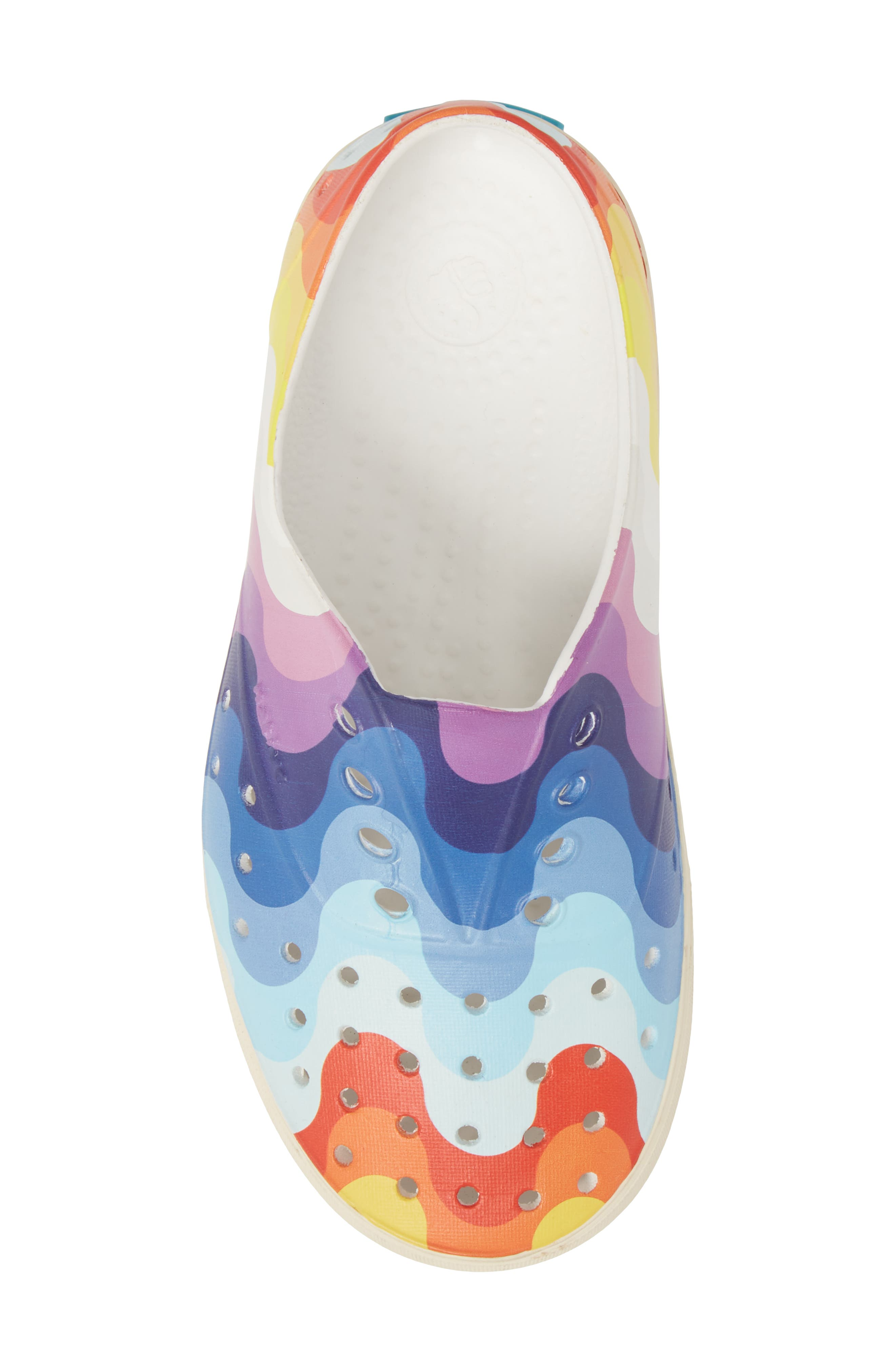 'Miller' Water Friendly Perforated Sneaker,                             Alternate thumbnail 5, color,                             SHELL WHITE/ RAINBOW WAVE