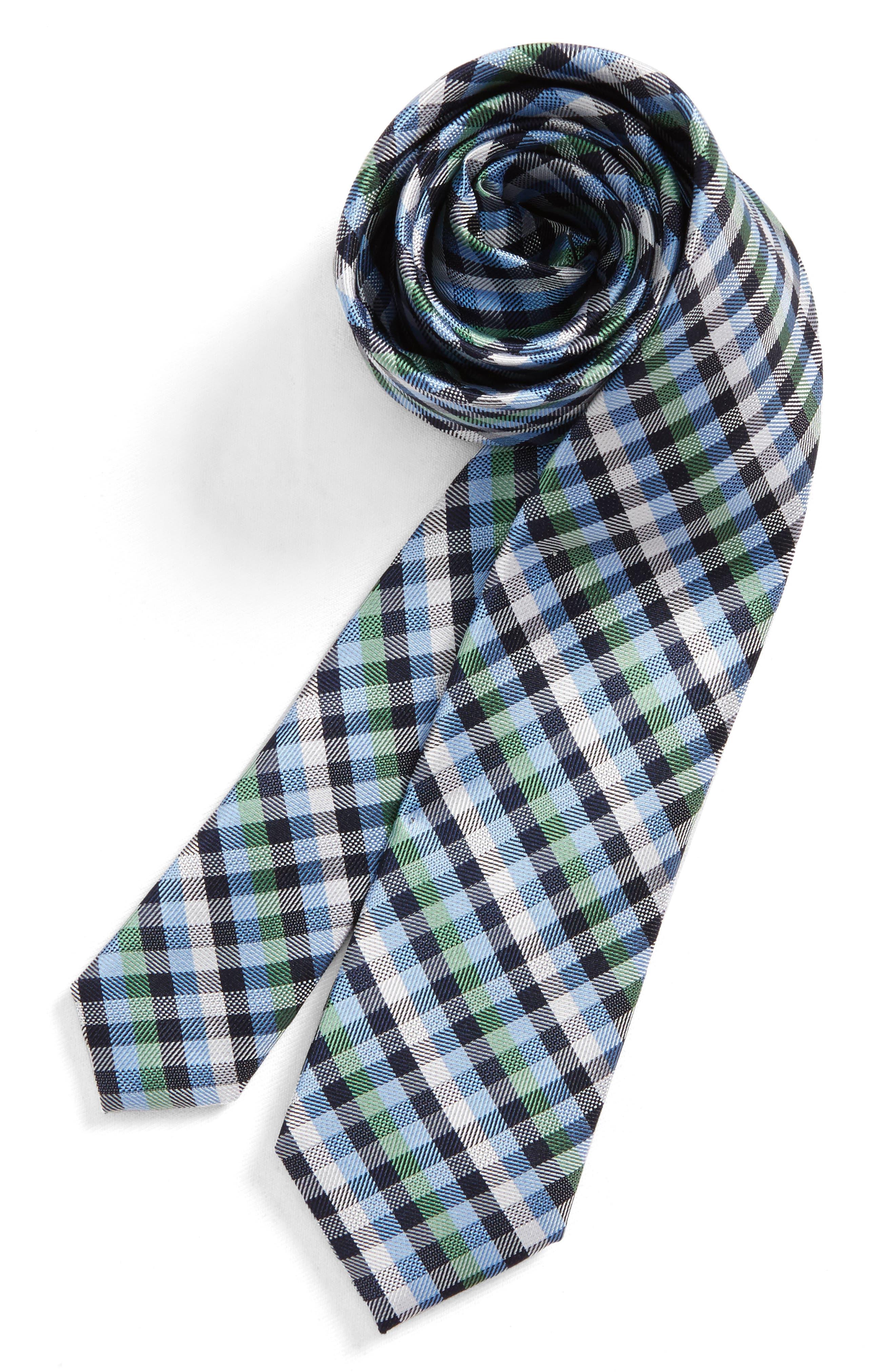 Check Silk Tie,                             Main thumbnail 2, color,