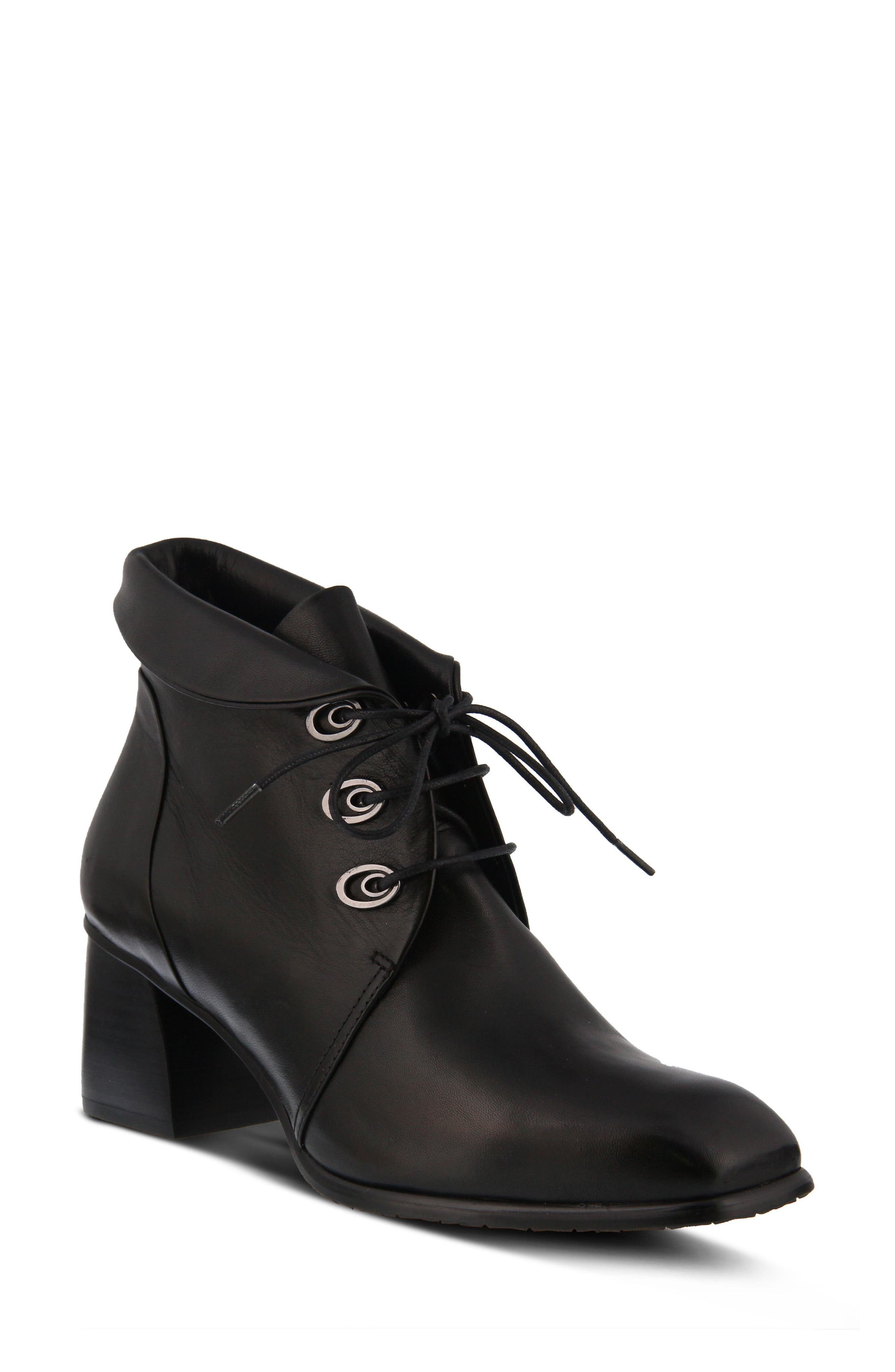 SPRING STEP,                             Adorina Bootie,                             Main thumbnail 1, color,                             BLACK LEATHER