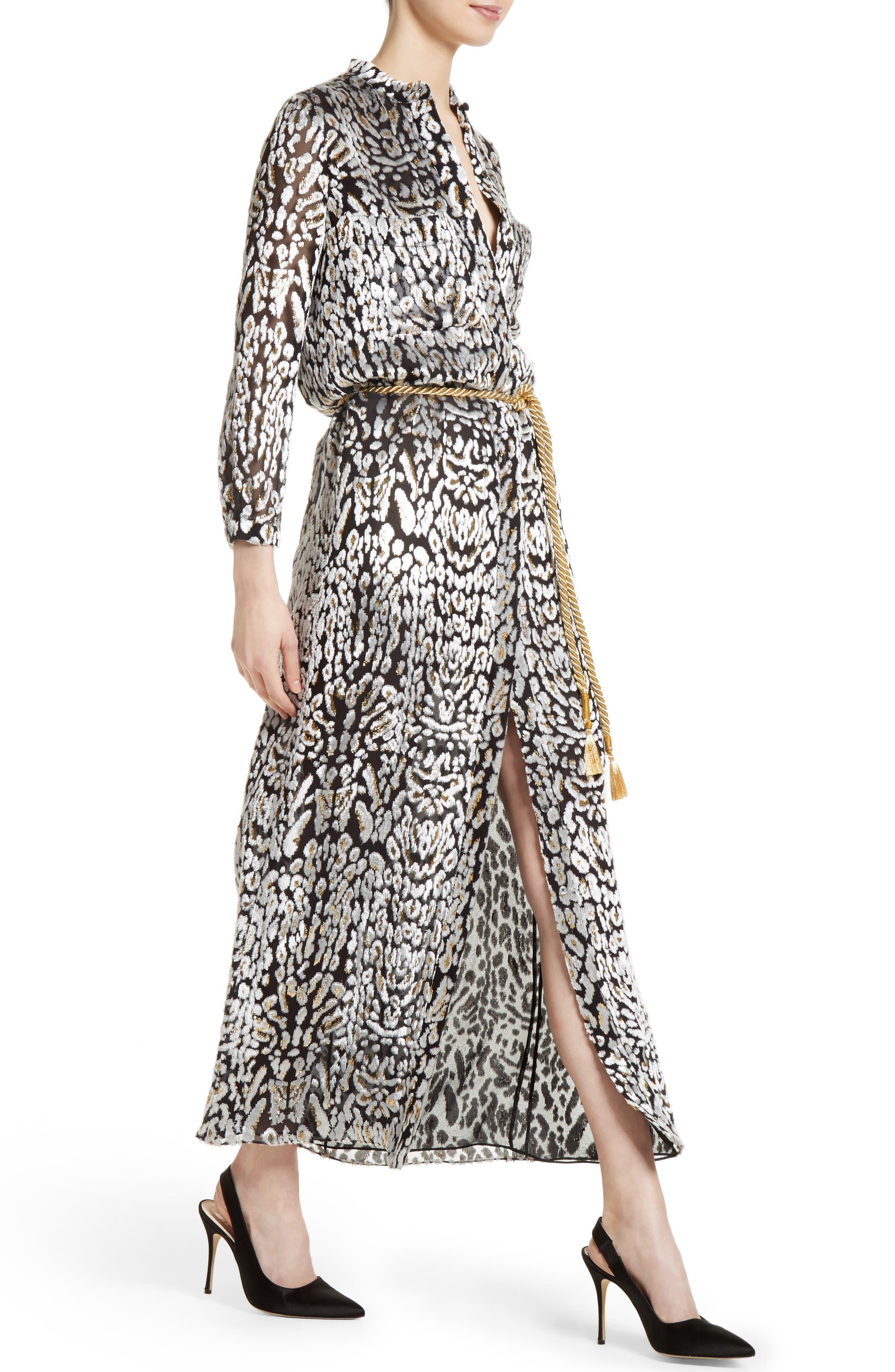 Ocelot Print Velvet Jacquard Dress,                             Alternate thumbnail 4, color,                             001