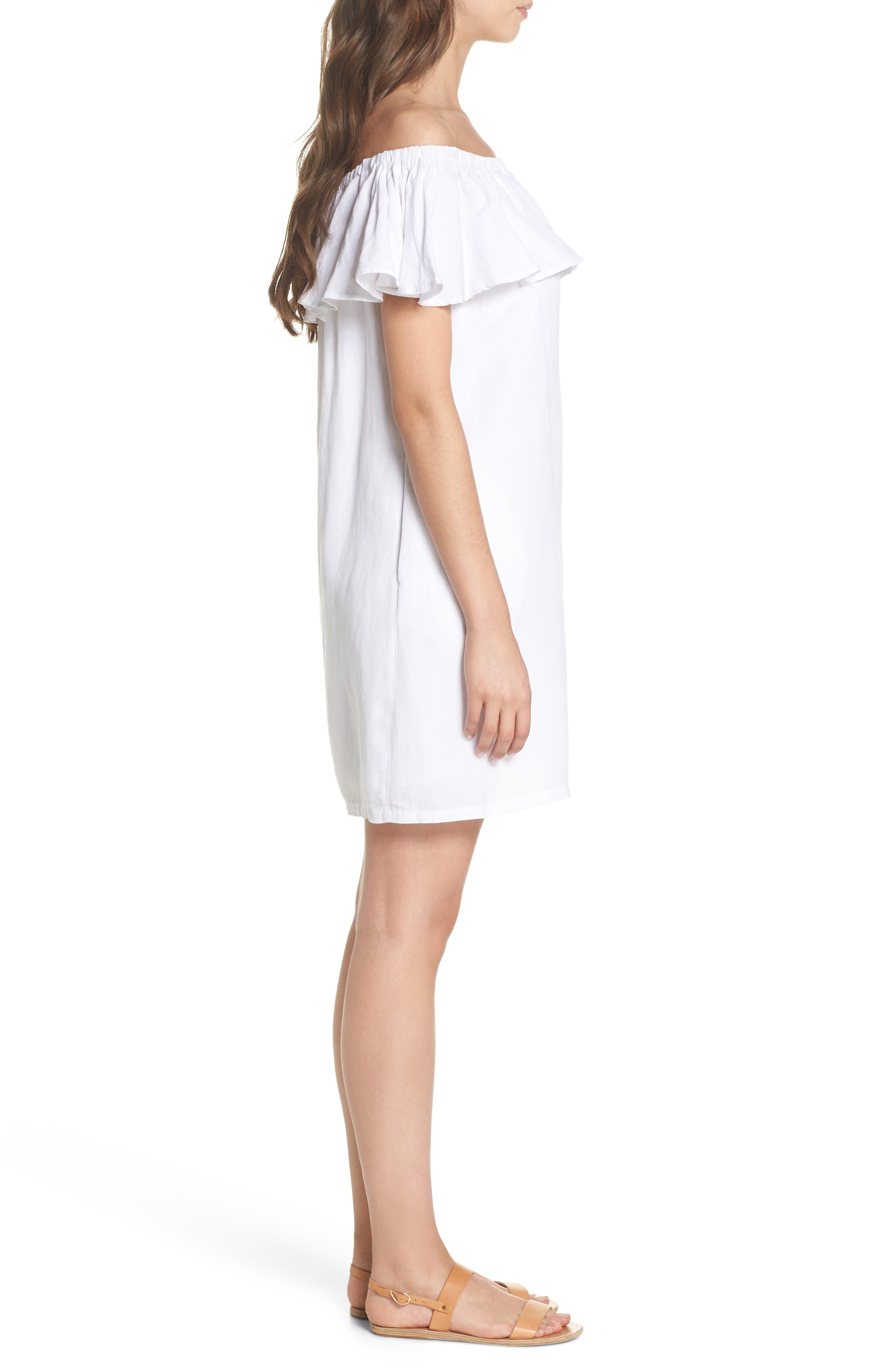 Off the Shoulder Cover-Up Dress,                             Alternate thumbnail 3, color,                             100