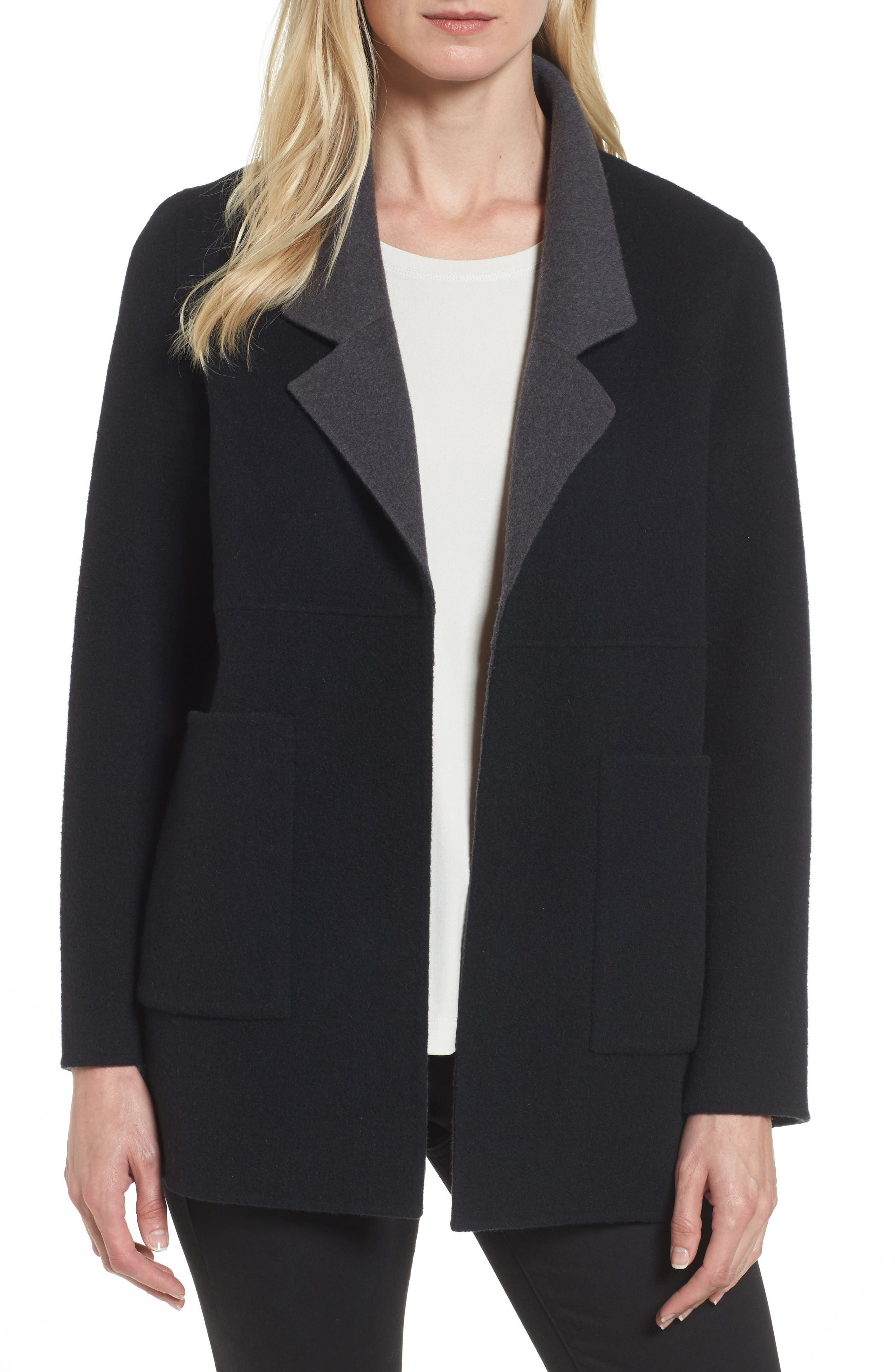 Double Face Brushed Wool Notch Collar Jacket,                         Main,                         color, 010