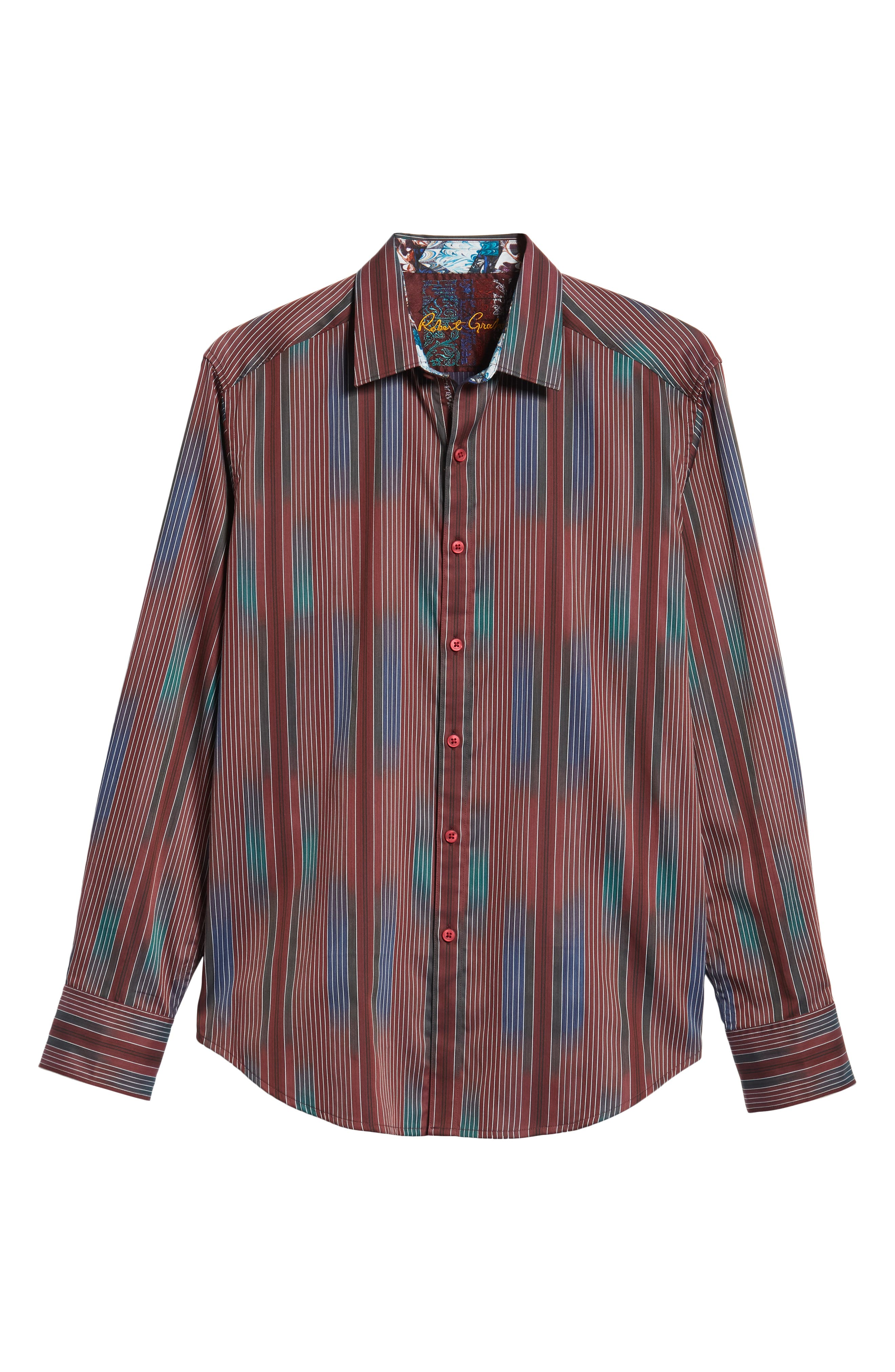 Rahman Classic Fit Sport Shirt,                             Alternate thumbnail 5, color,                             BURGUNDY