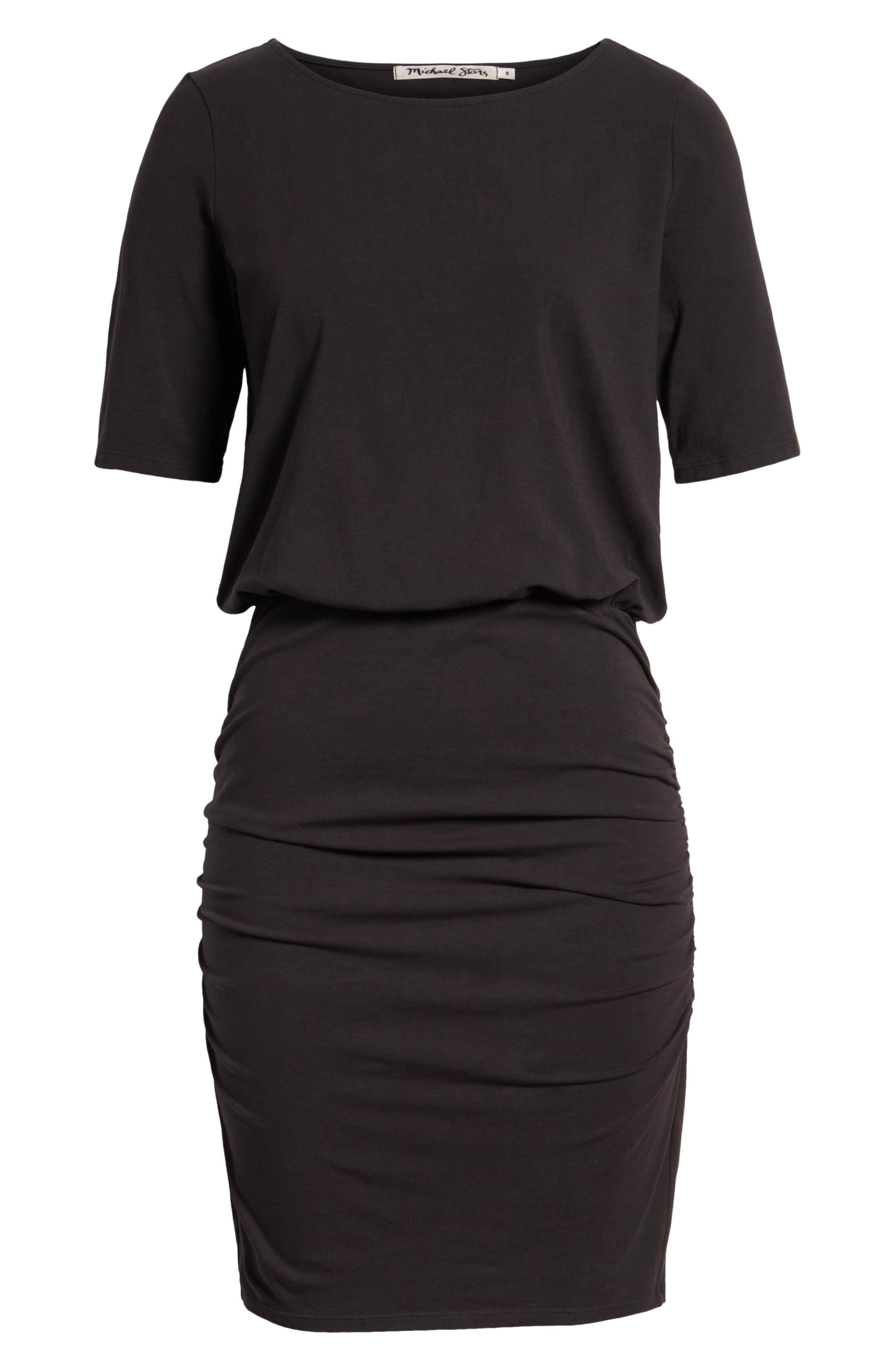 Ruched Body-Con Dress,                             Alternate thumbnail 7, color,                             BLACK