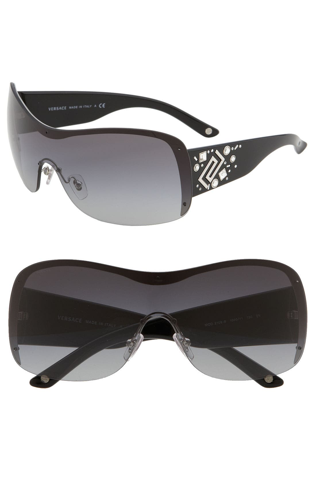 Greek Key Oversized Shield Sunglasses, Main, color, 020