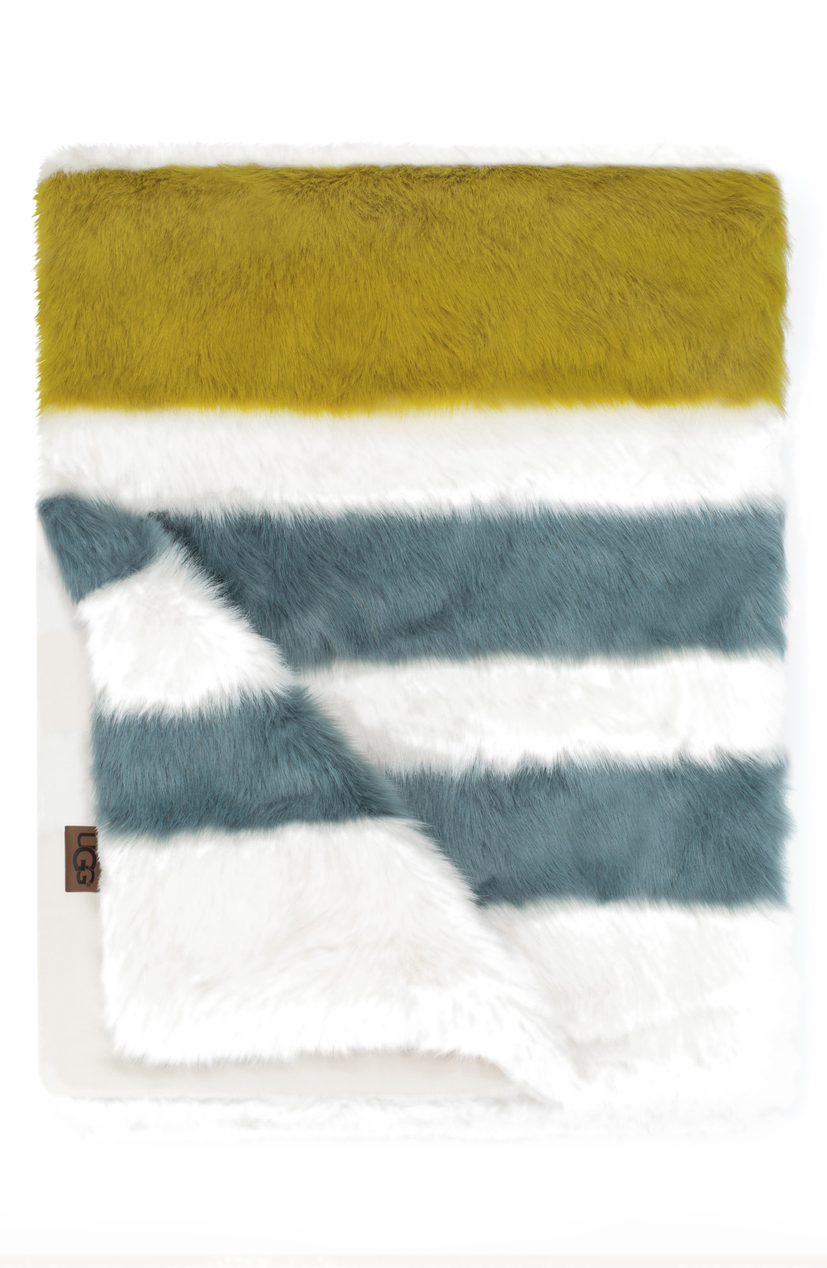 UGG<SUP>®</SUP>,                             Royale Surf Stripe Faux Fur Throw Blanket,                             Main thumbnail 1, color,                             DEEP SAGE