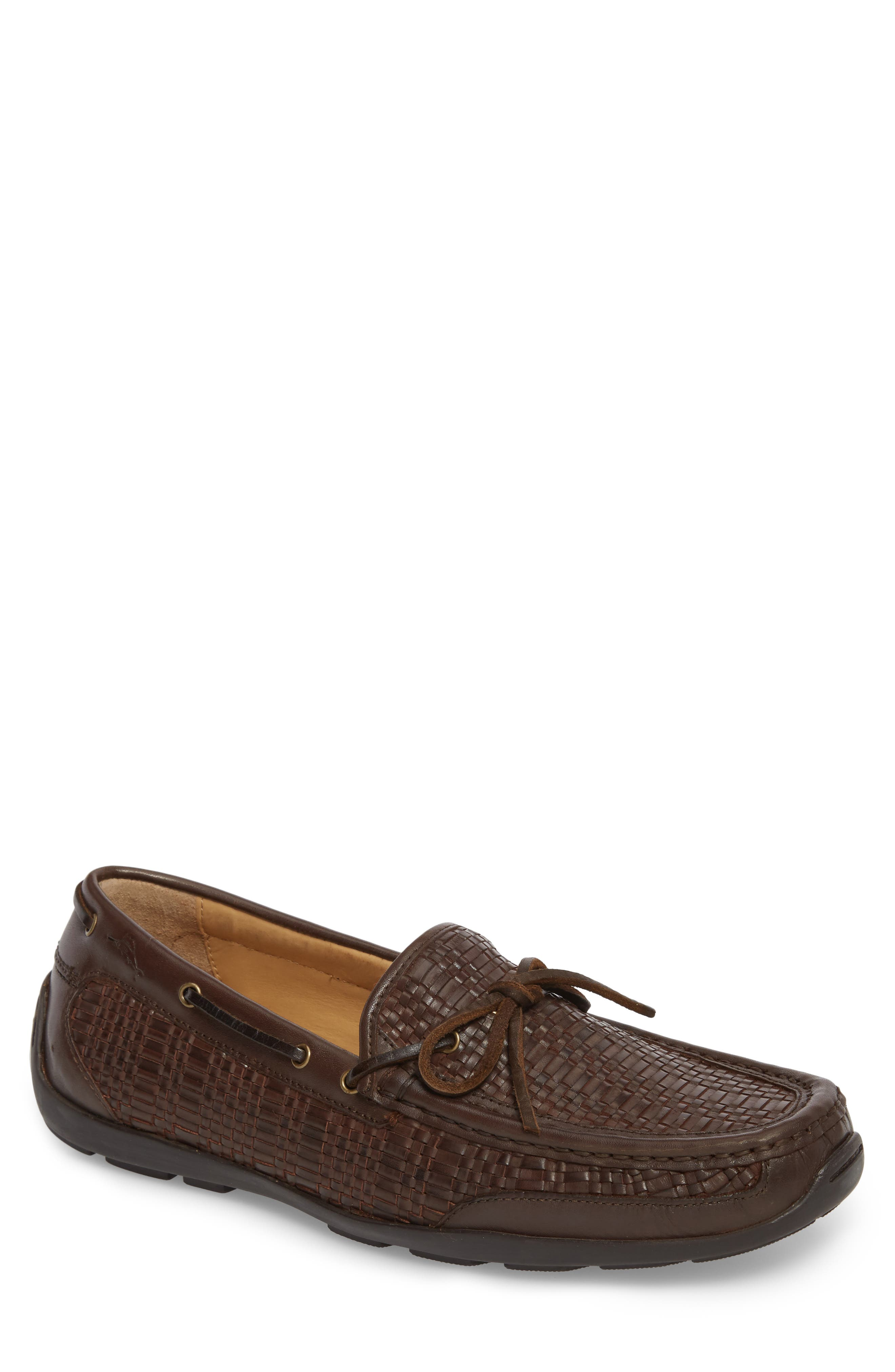 Tangier Driving Shoe,                         Main,                         color, DARK BROWN WOVEN LEATHER
