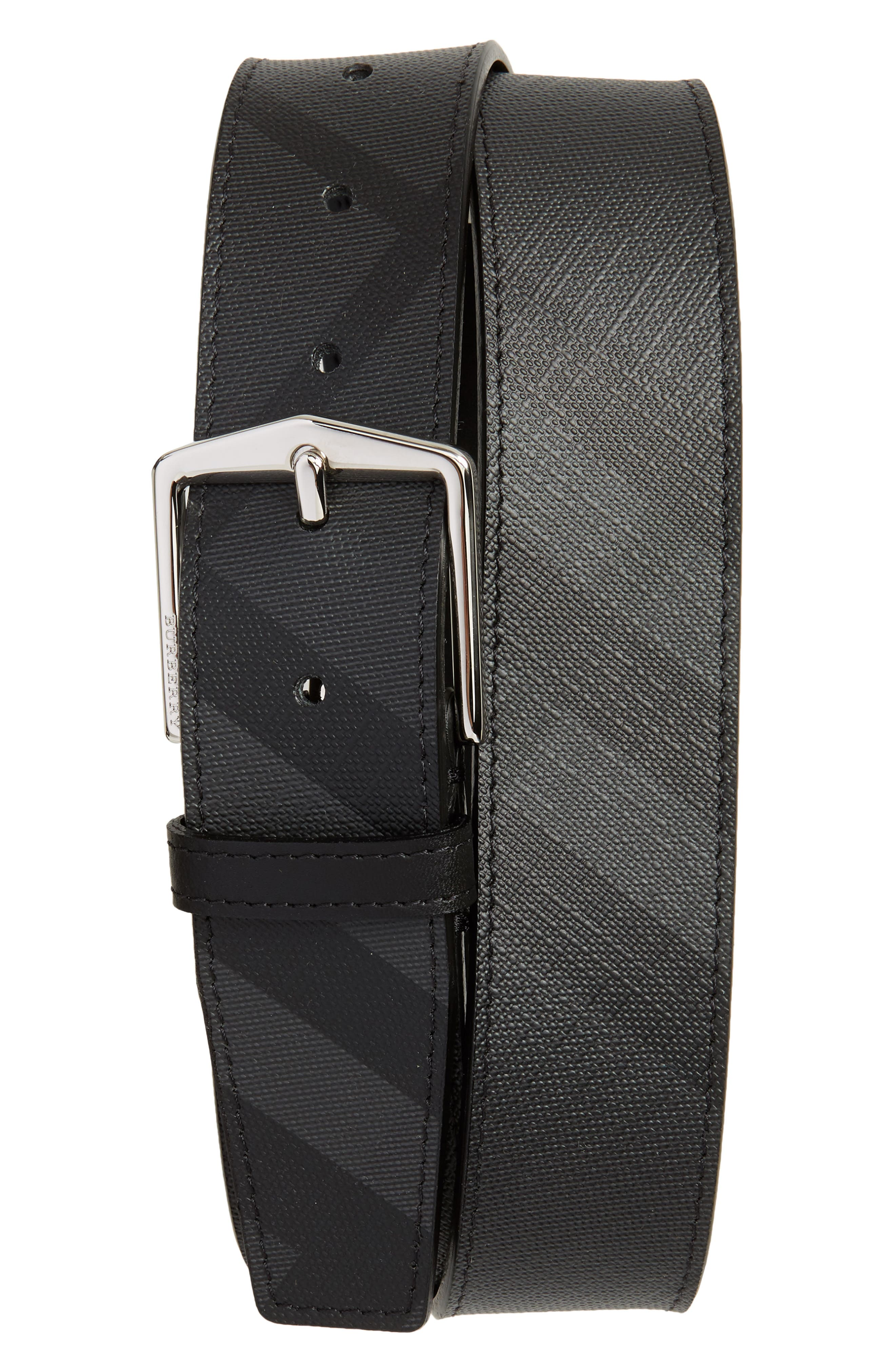 BURBERRY,                             Check Belt,                             Main thumbnail 1, color,                             CHARCOAL/ BLACK