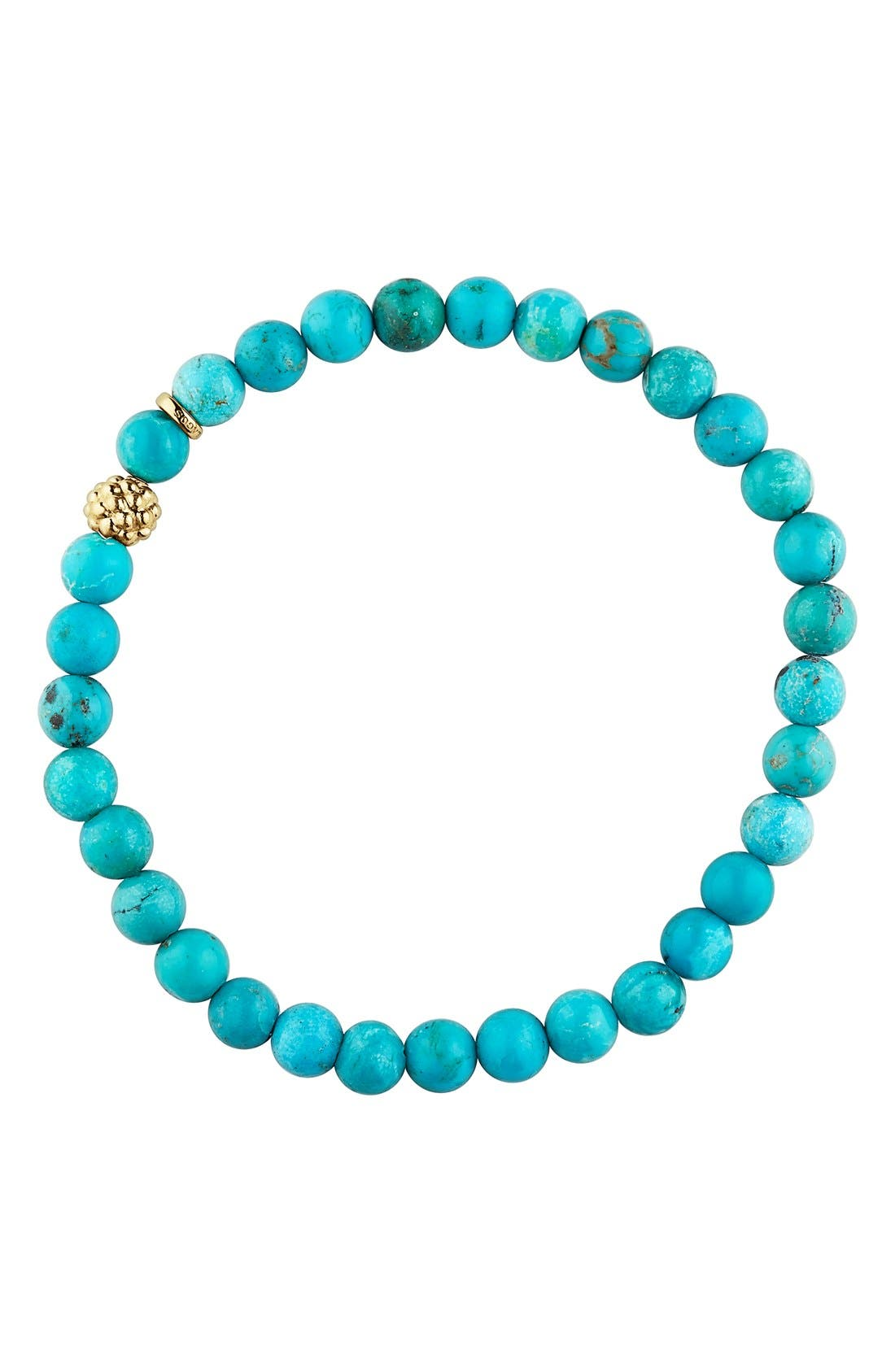 'Caviar Icon' Semiprecious Stone Bracelet,                             Alternate thumbnail 3, color,                             TURQUOISE/ GOLD